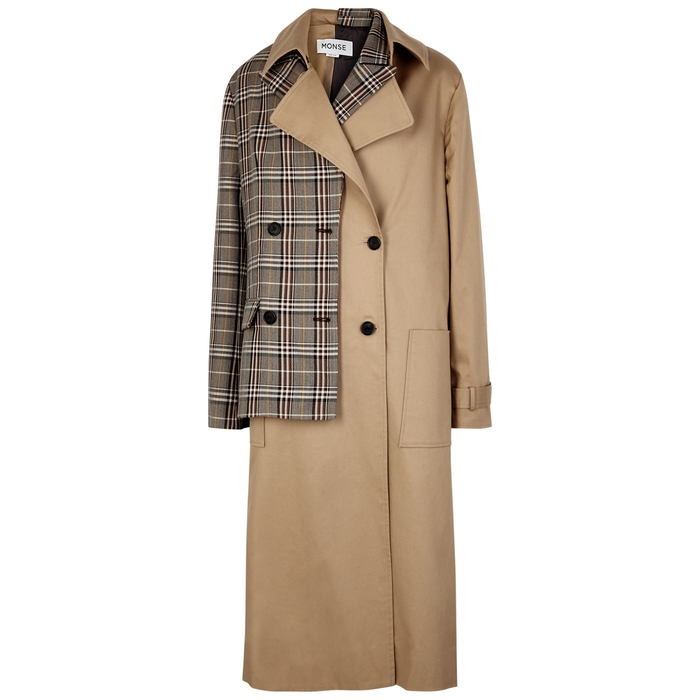 Monse CHECKED TWILL AND WOOL-BLEND TRENCH COAT