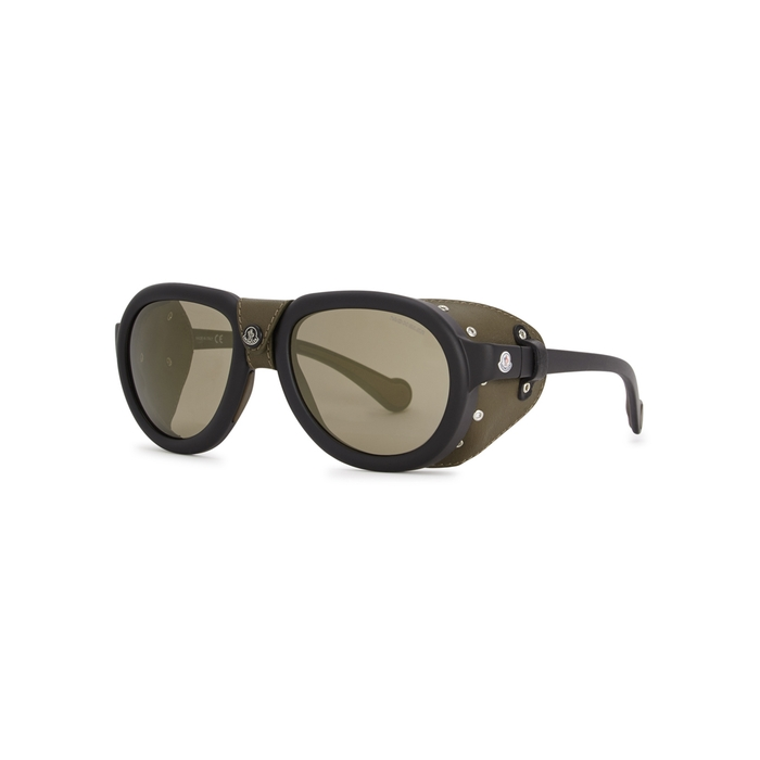 Moncler ML0090 Leather-trimmed Sunglasses