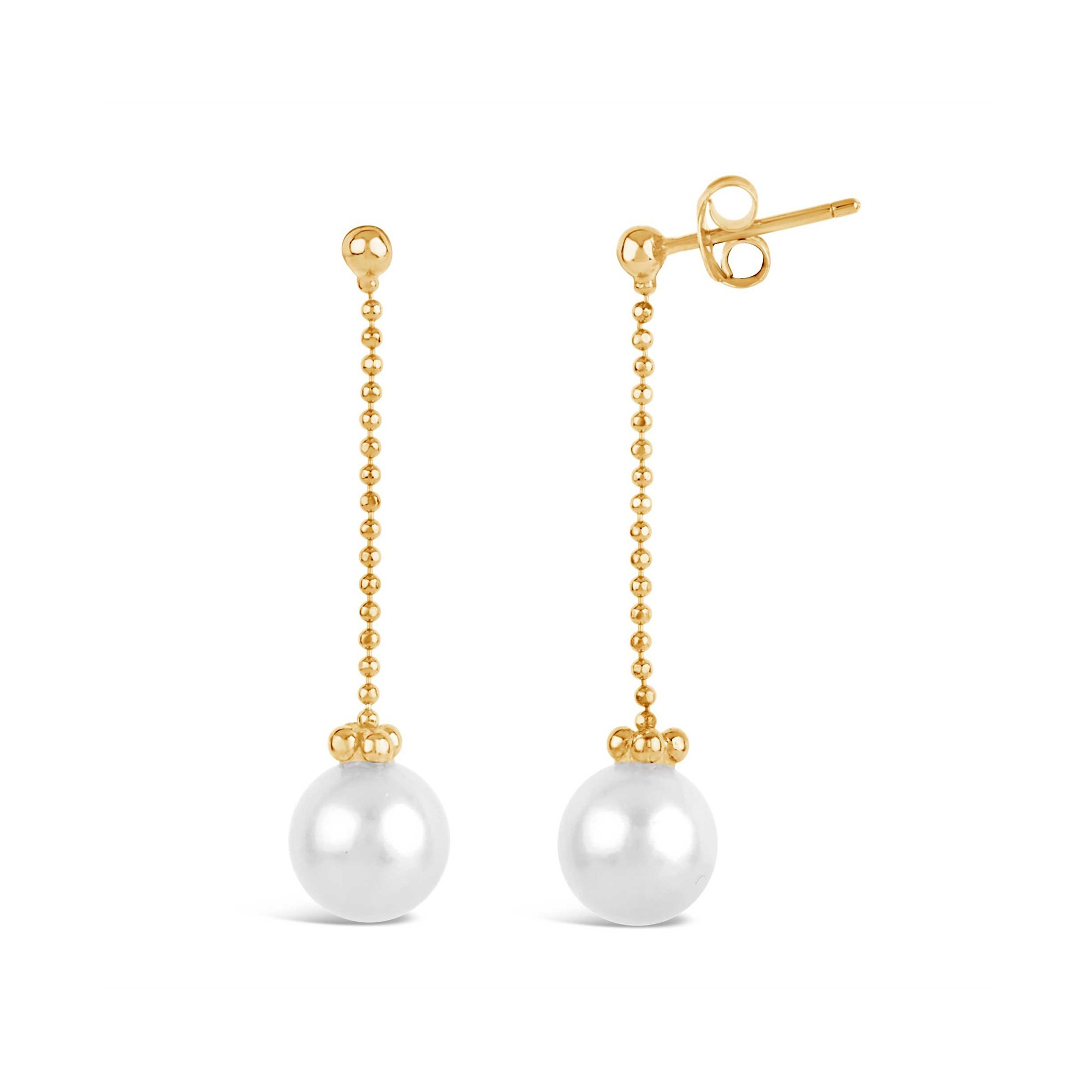 DINNY HALL GOLD PEARL CHAIN DROP EARRING