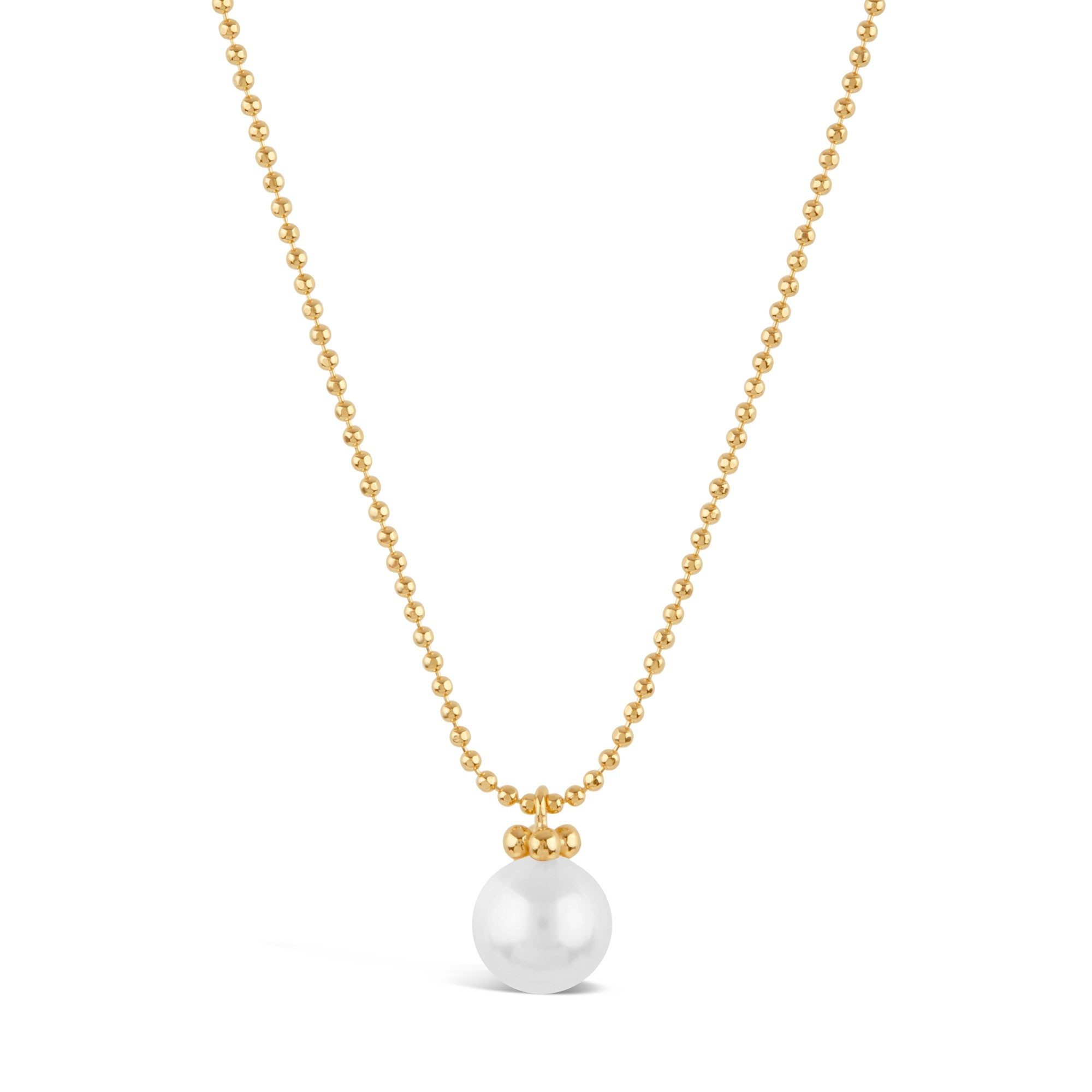 DINNY HALL GOLD PEARL PENDANT WITH FINE FACETED BALL CHAIN