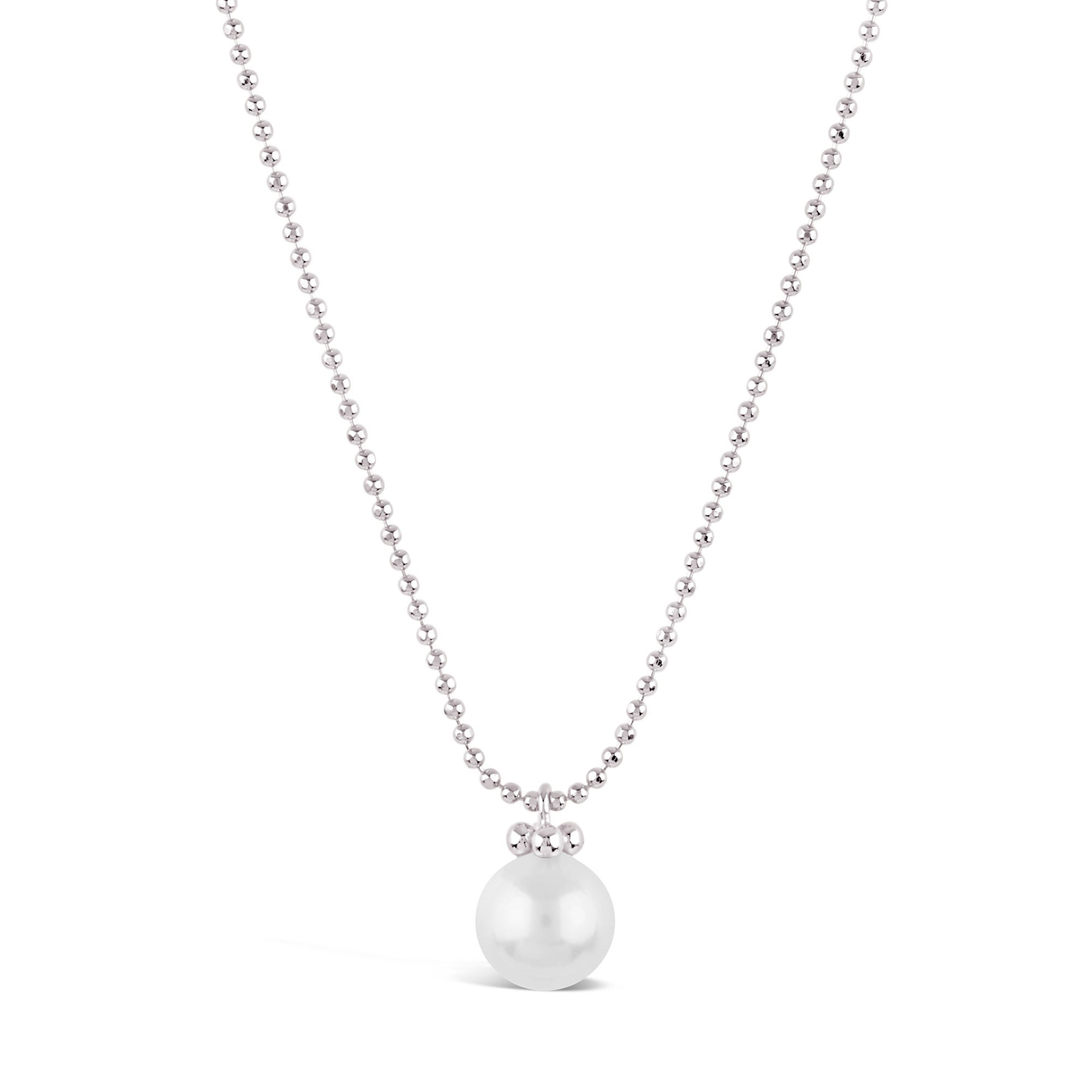 DINNY HALL SILVER PEARL PENDANT WITH FINE FACETED BALL CHAIN
