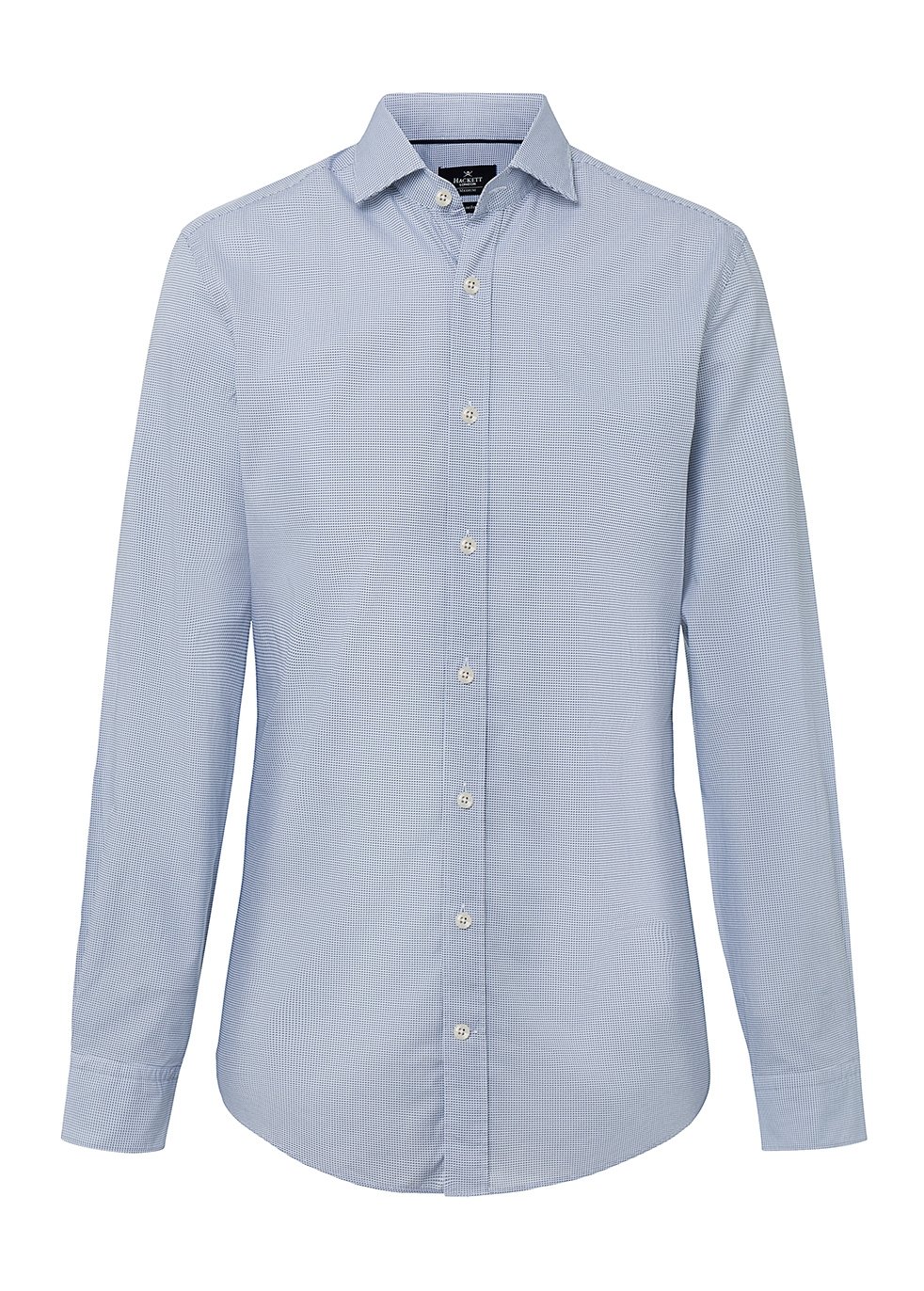 HACKETT MICRO HOUNDSTOOTH PRINT COTTON SHIRT