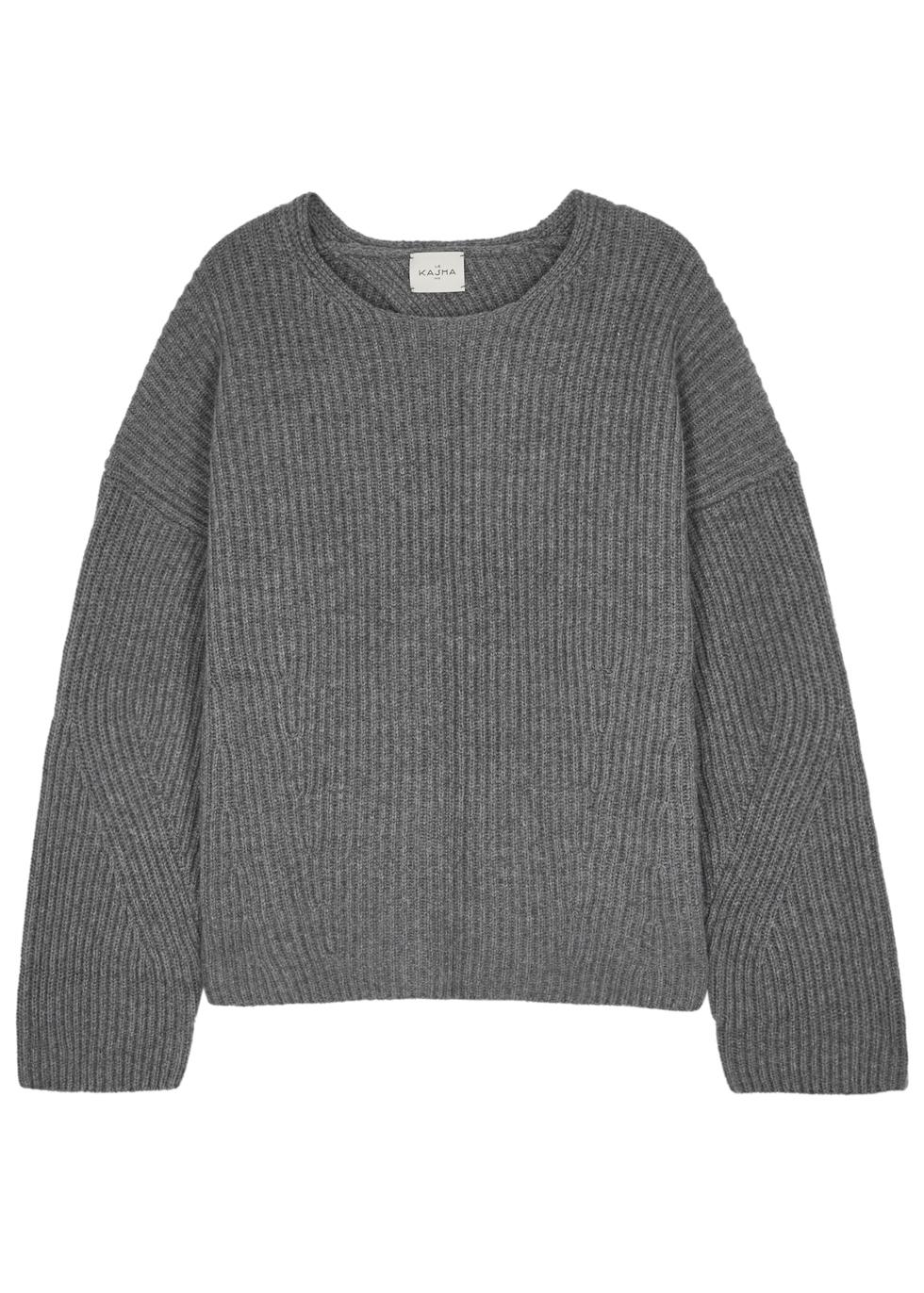 Seoul Open-Back Cashmere Jumper, Grey