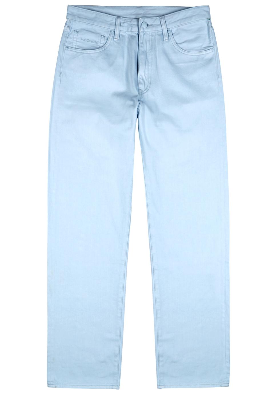 M.C. OVERALLS Light Blue Straight-Leg Jeans in Denim