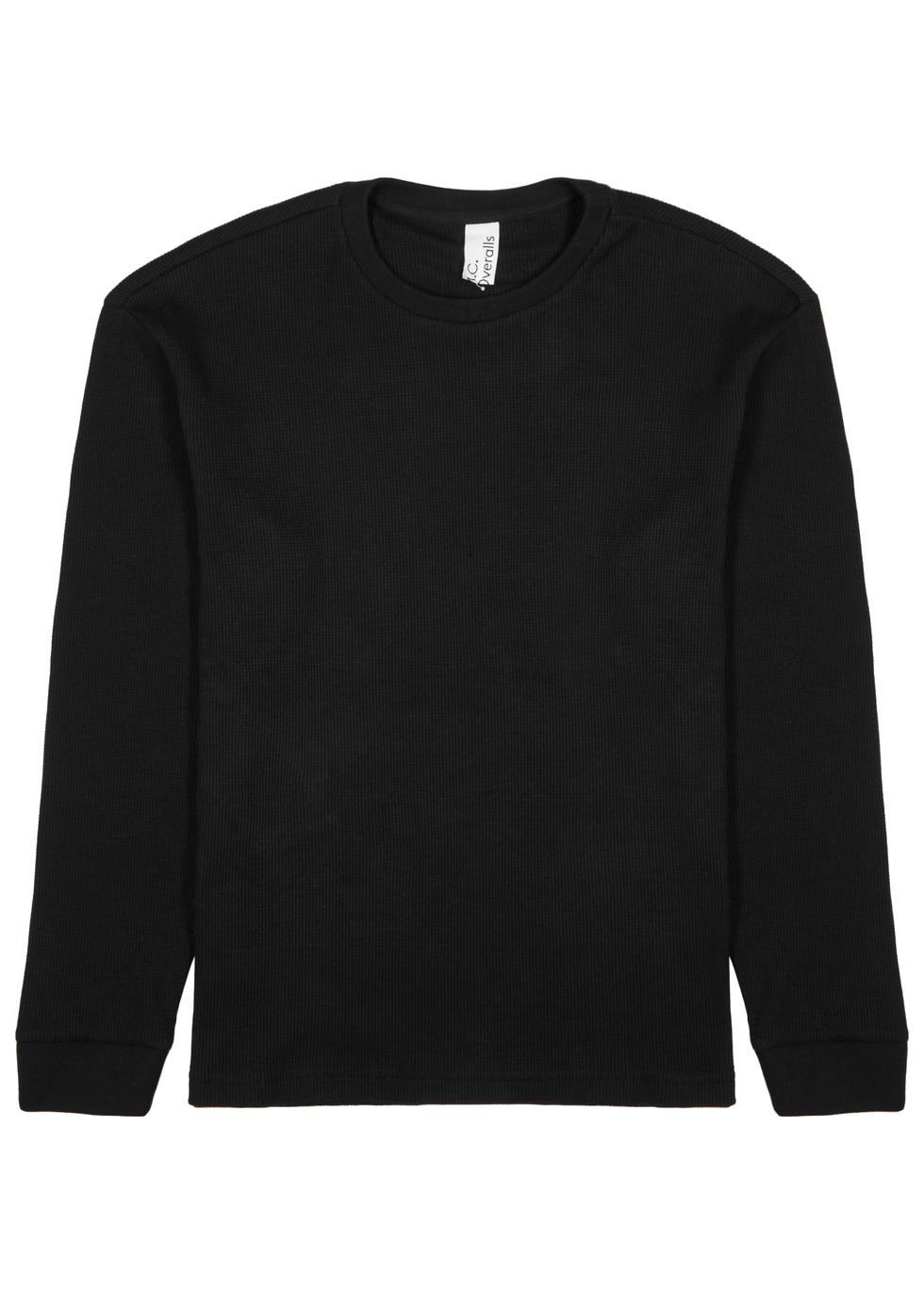 M.C. OVERALLS Black Waffle-Knit Cotton-Blend Top