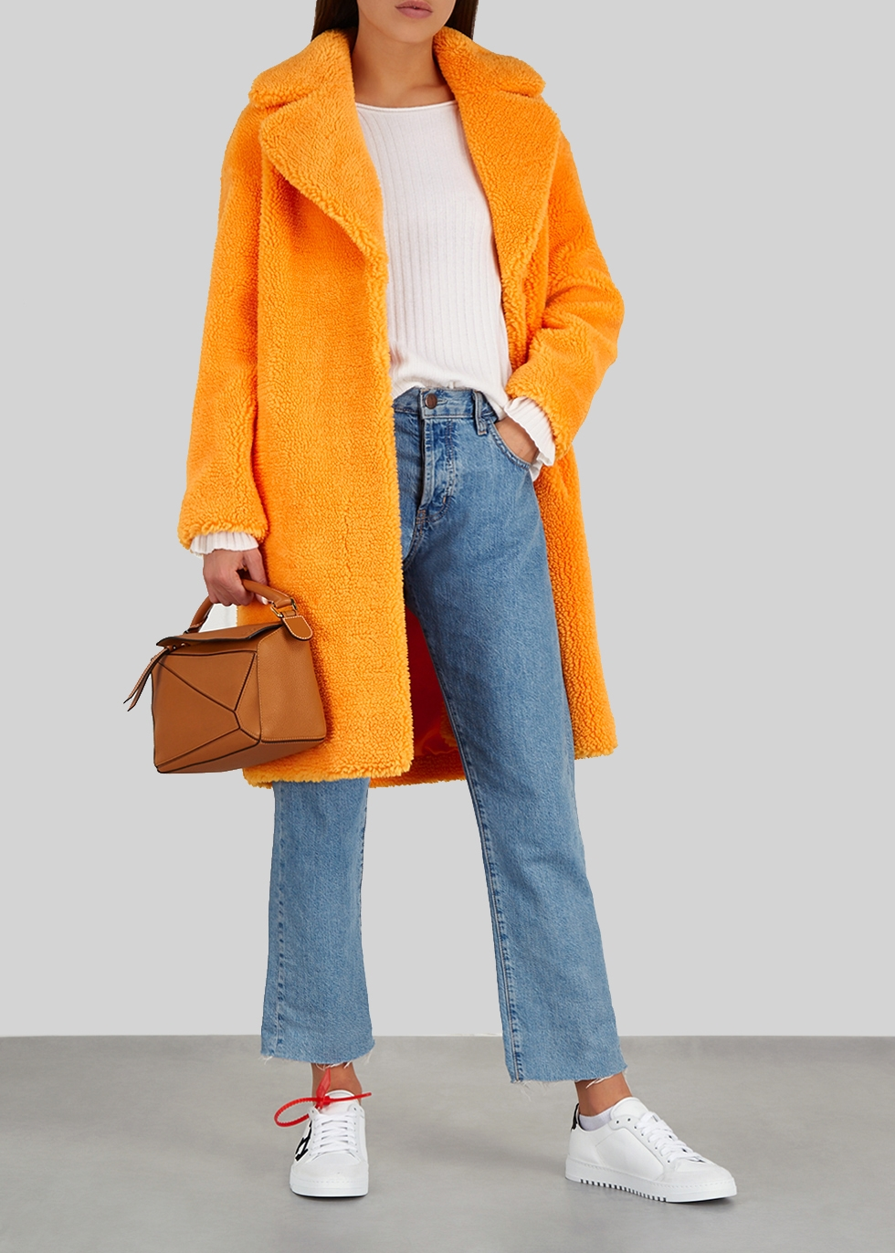 Camille orange faux shearling coat - Stand