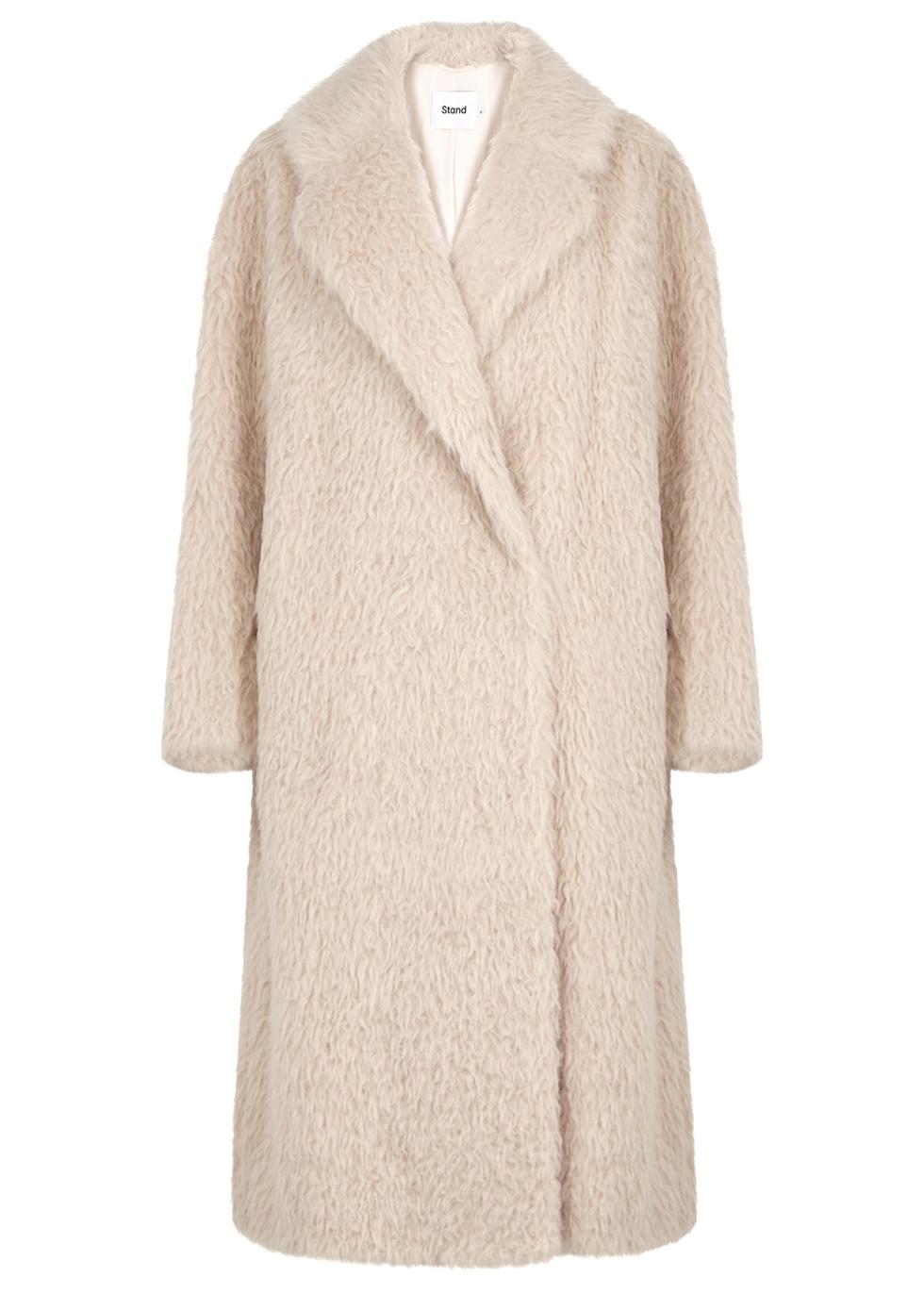 Nicole Cream Faux Shearing Coat, Off White