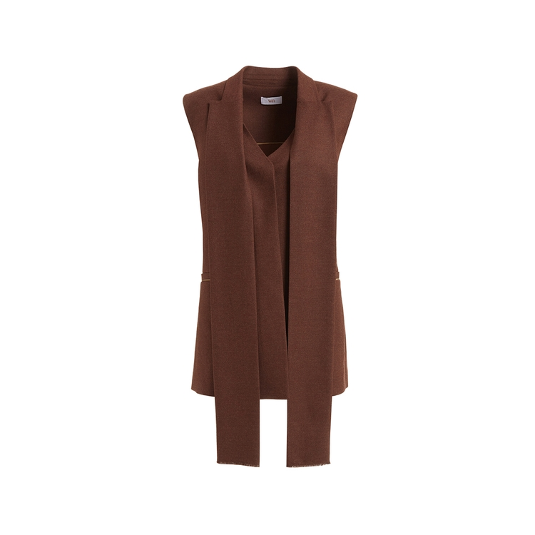 Wtr  DERAIN BROWN WOOL & CASHMERE SCARF DETAILED GILET