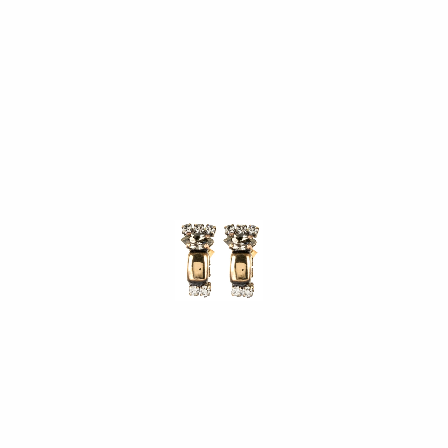 HALO & CO SMALL JEWELLED METAL OBLONG STUDS