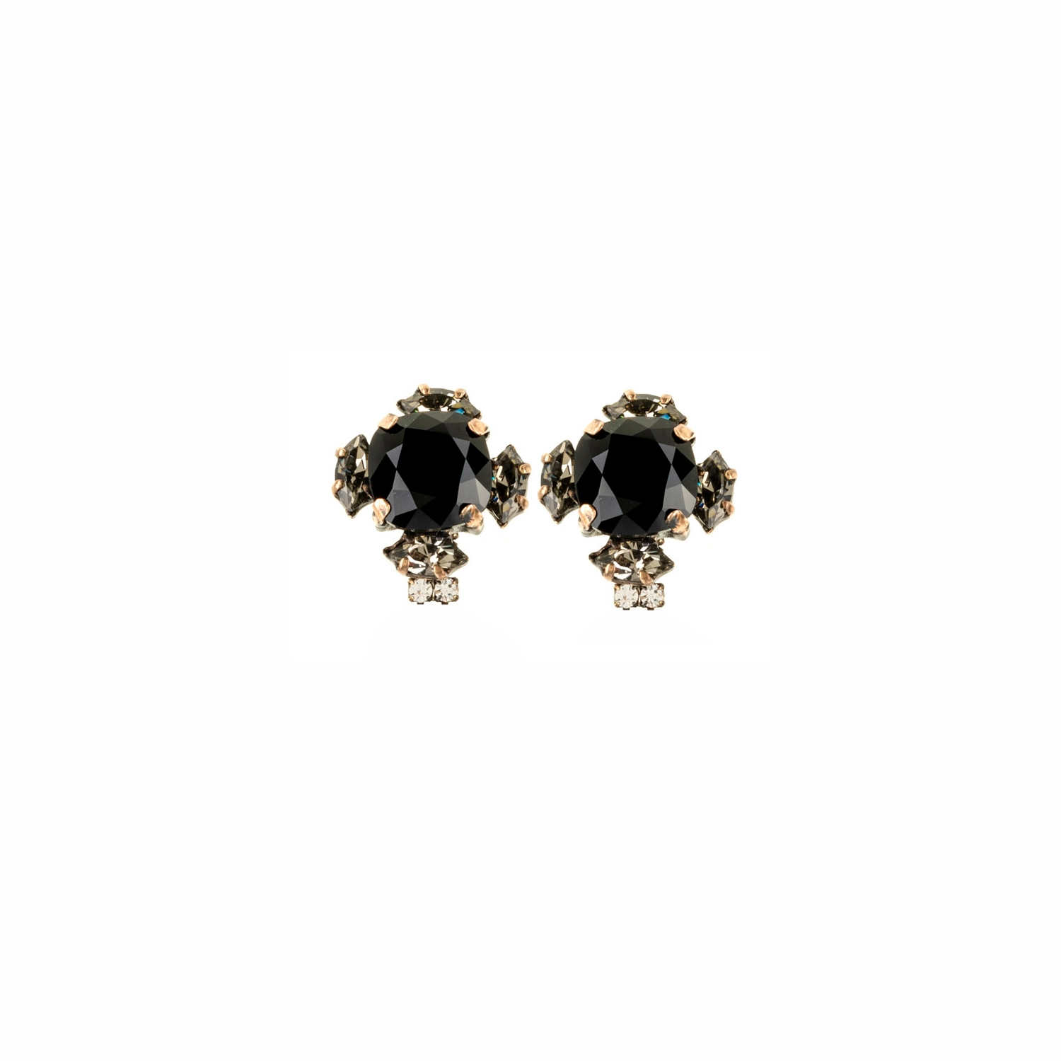 HALO & CO LARGE JET AND DIAMONG BLACK CRYSTAL CLUSTER EARRINGS