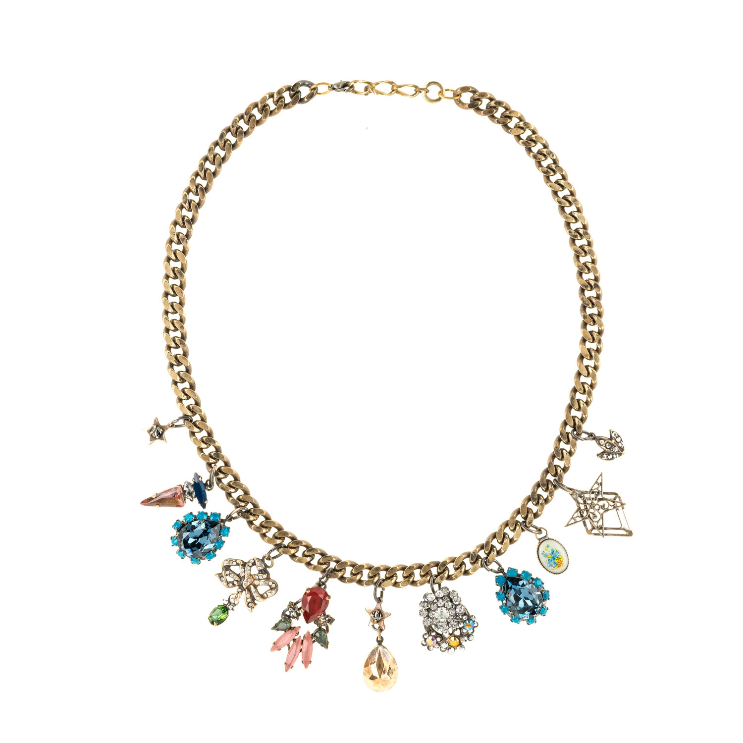 HALO & CO BEJEWELLED VINTAGE CHARM NECKLACE FOR ADDED DRAMA