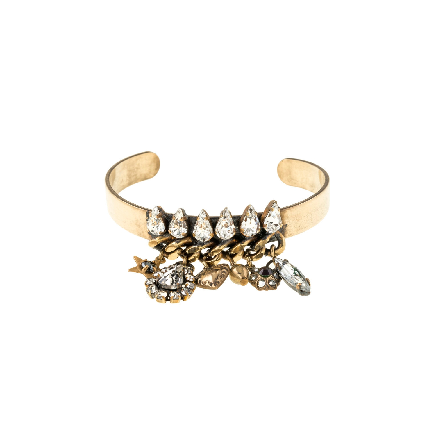 HALO & CO SPIKE CRYSTAL CUFF WITH VINTAGE CHARMS