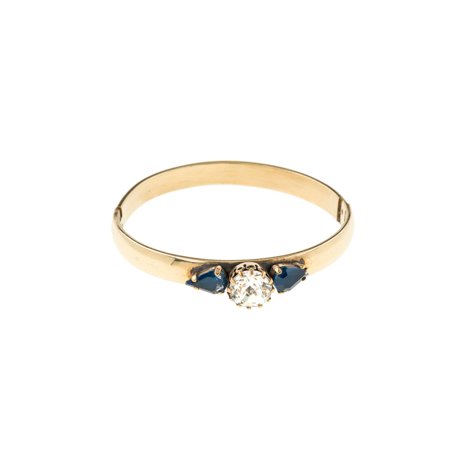 HALO & CO SOLITAIRE CRYSTAL BANGLE WITH DENIM BLUE TEAR DROPS
