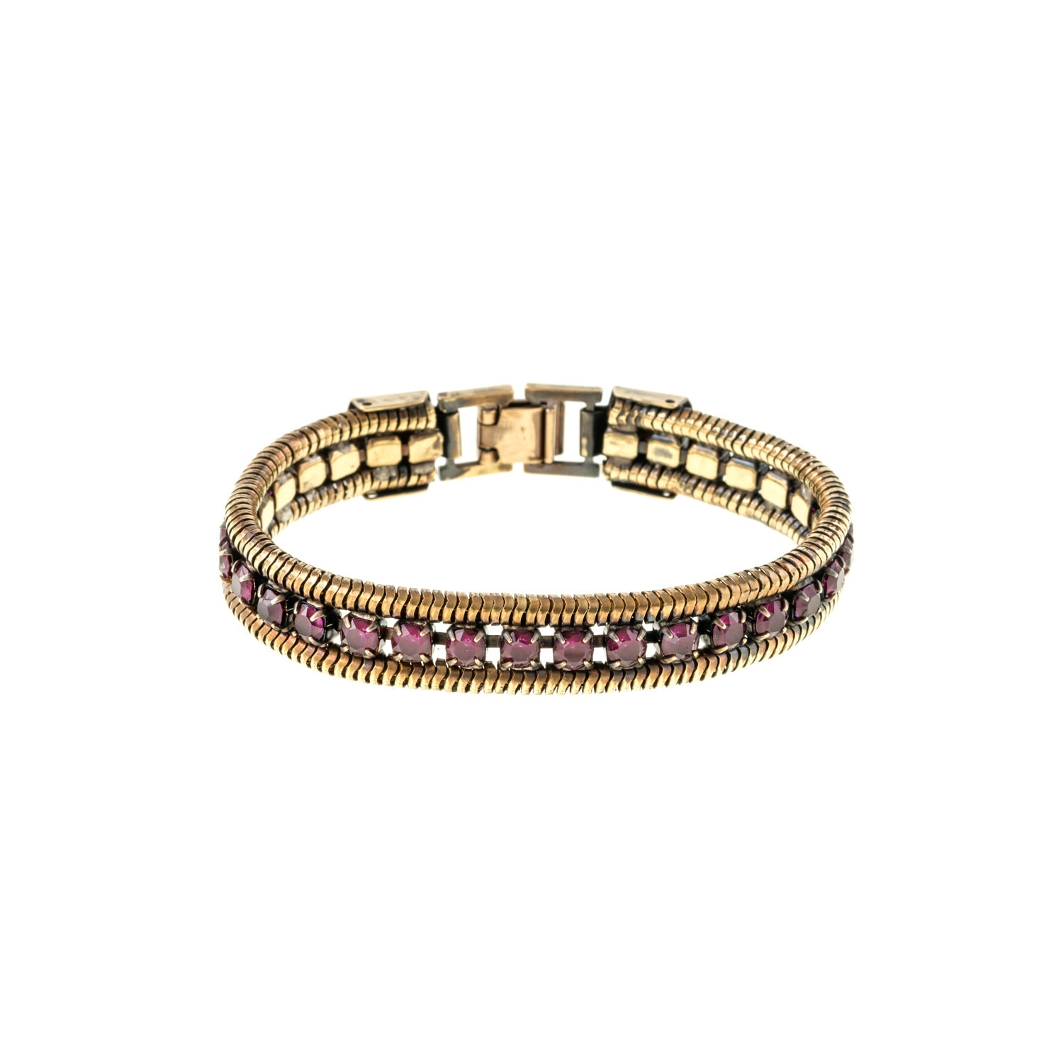 HALO & CO AMETHYST CRYSTAL AND ROPE CHAIN CUFF IN DARK ANTIQUE GOLD COLOUR