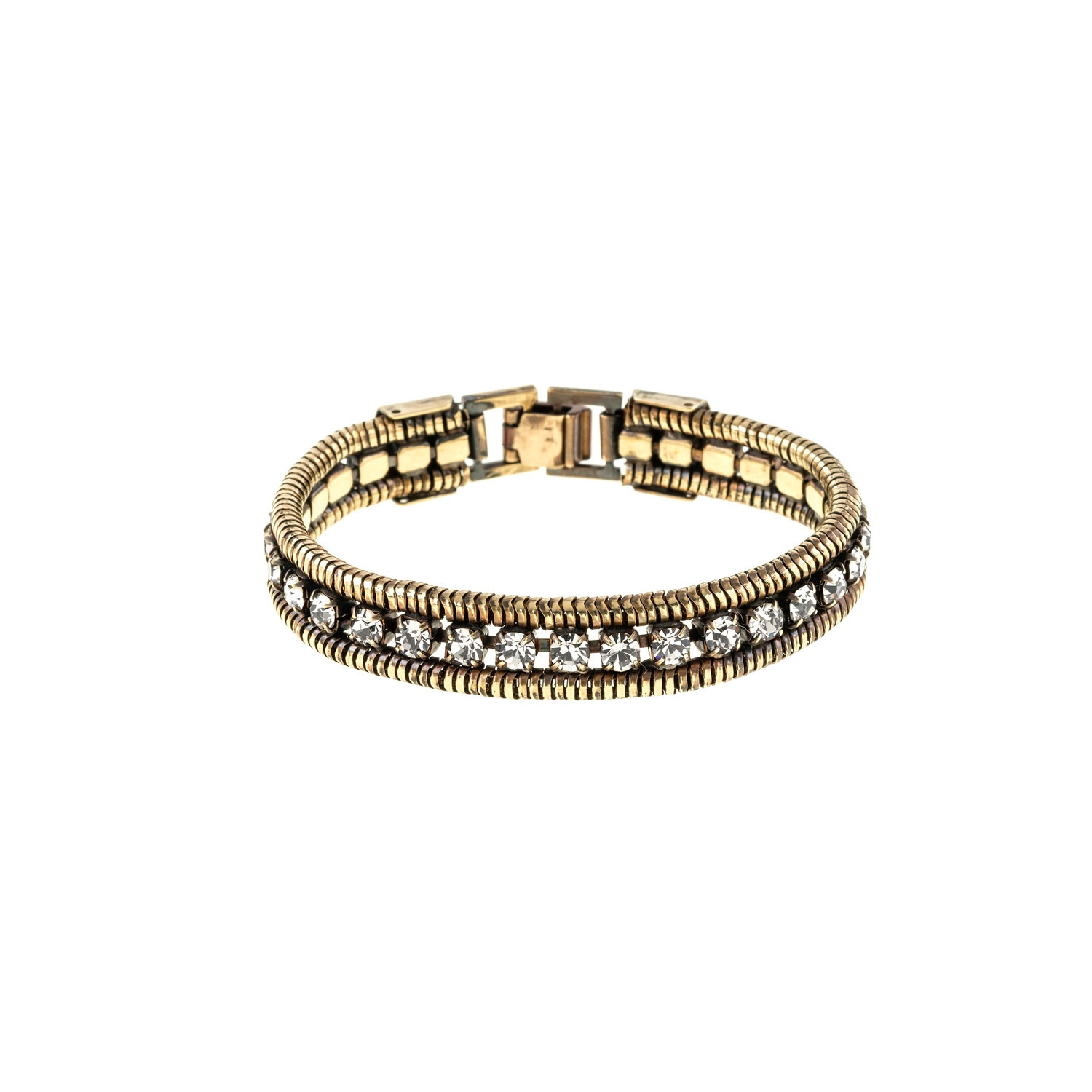HALO & CO BLACK DIAMOND CRYSTAL AND ROPE CHAIN CUFF IN DARK ANTIQUE GOLD COLOUR