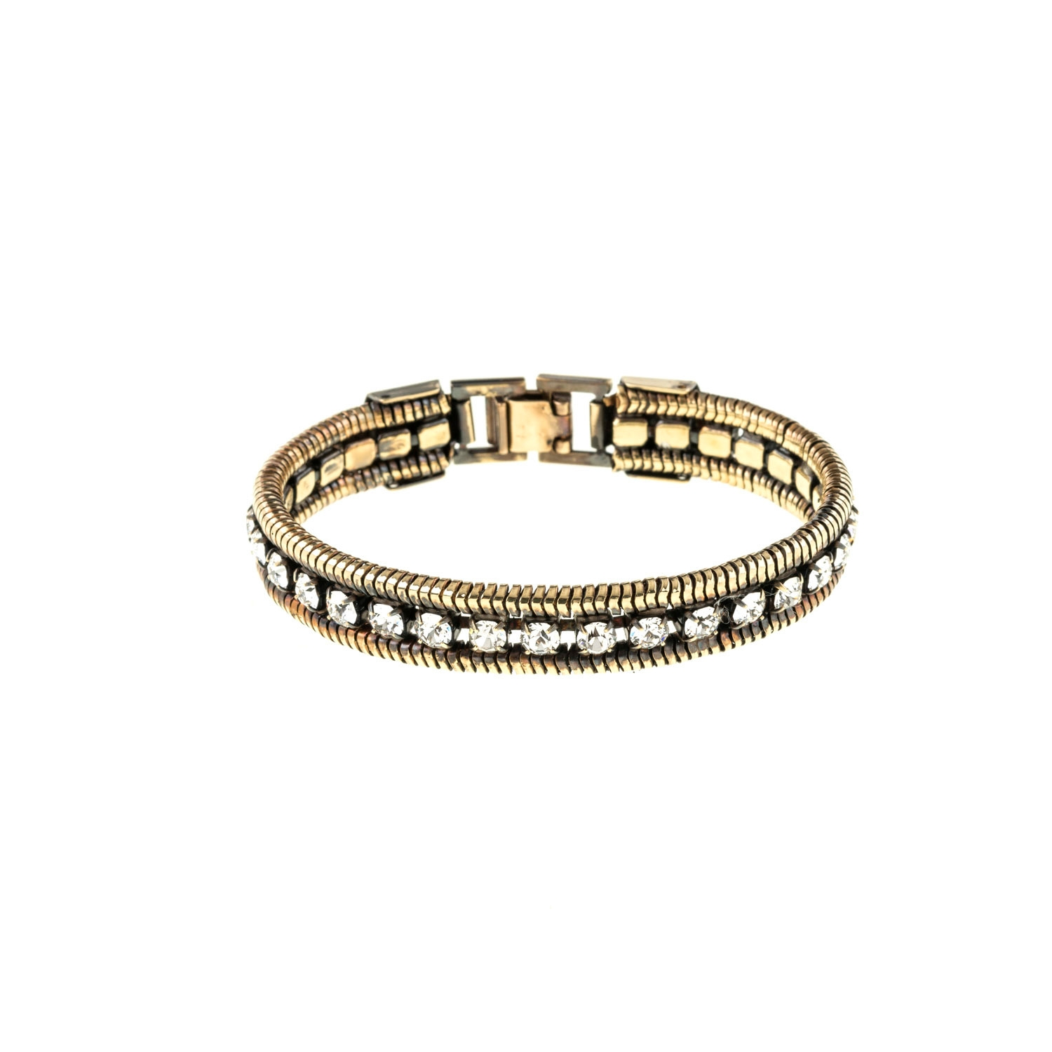 HALO & CO CRYSTAL AND ROPE CHAIN CUFF IN DARK ANTIQUE GOLD COLOUR