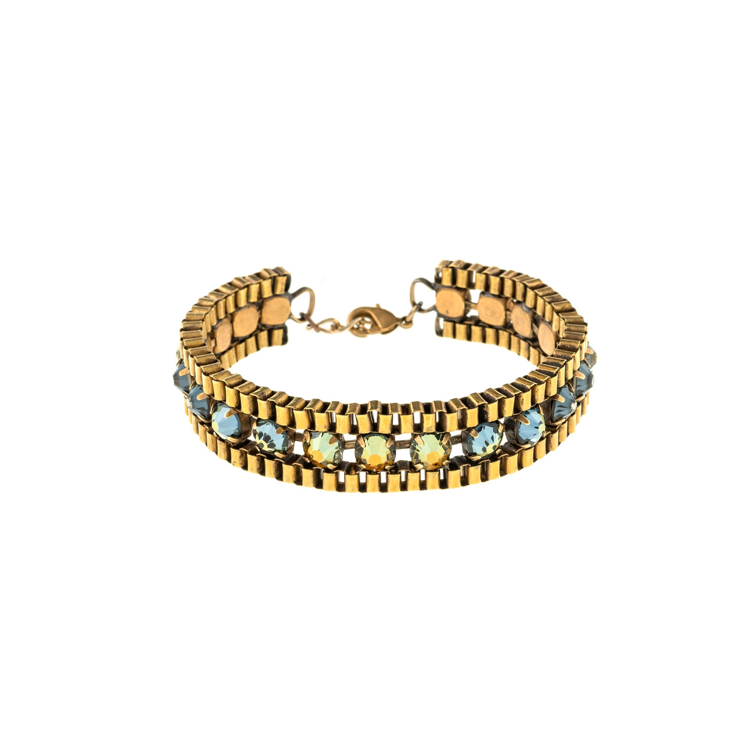 HALO & CO CRYSTAL AND BOX CHAIN BRACELET IN IRRIDESCENT BLUE COLOUR