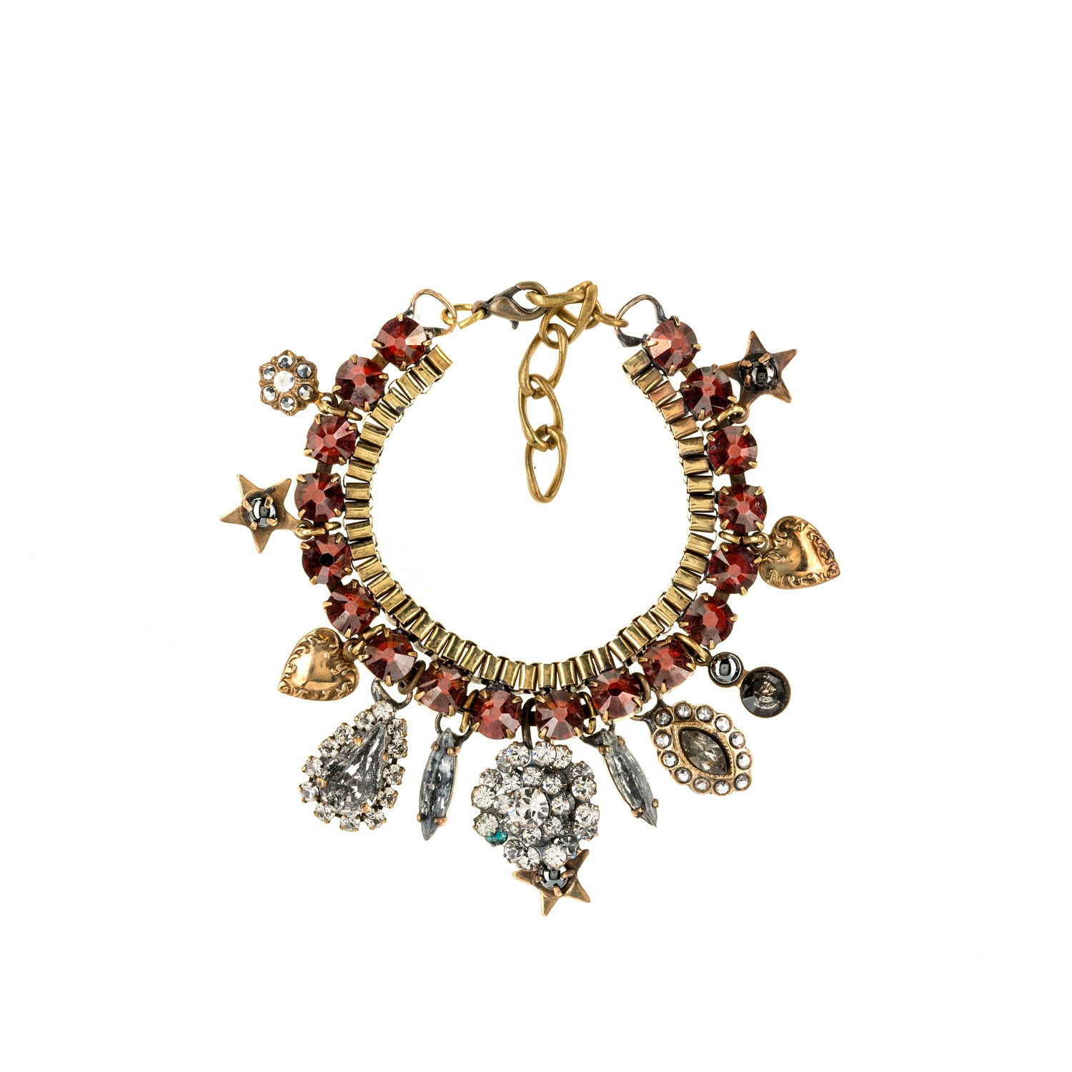 HALO & CO BUNT RED CRYSTAL BRACELET WITH VINTAGE CRYSTAL CHARMS