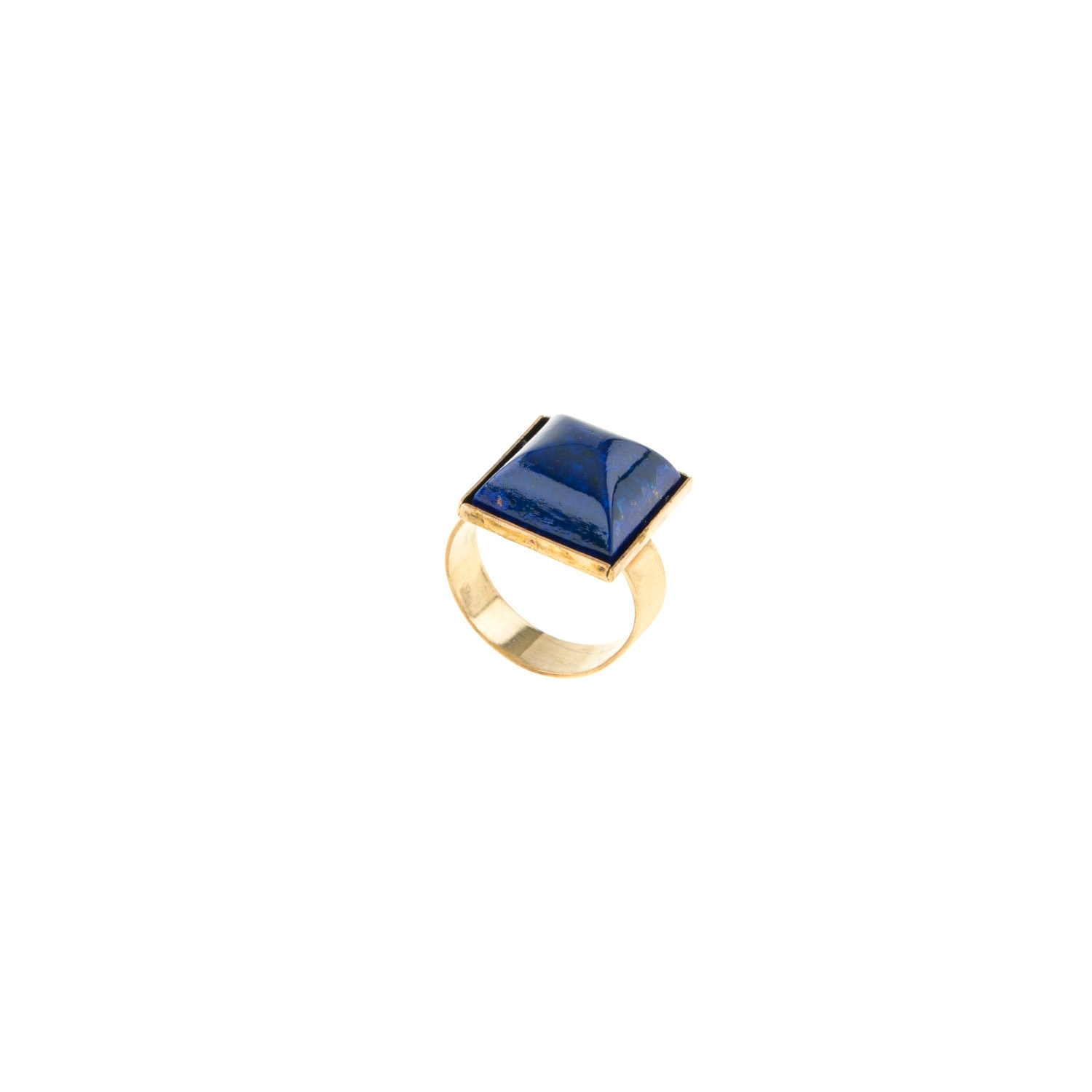 HALO & CO LOVE ME RING. A DEEP BLUE FACETTED CHUNKY RING.