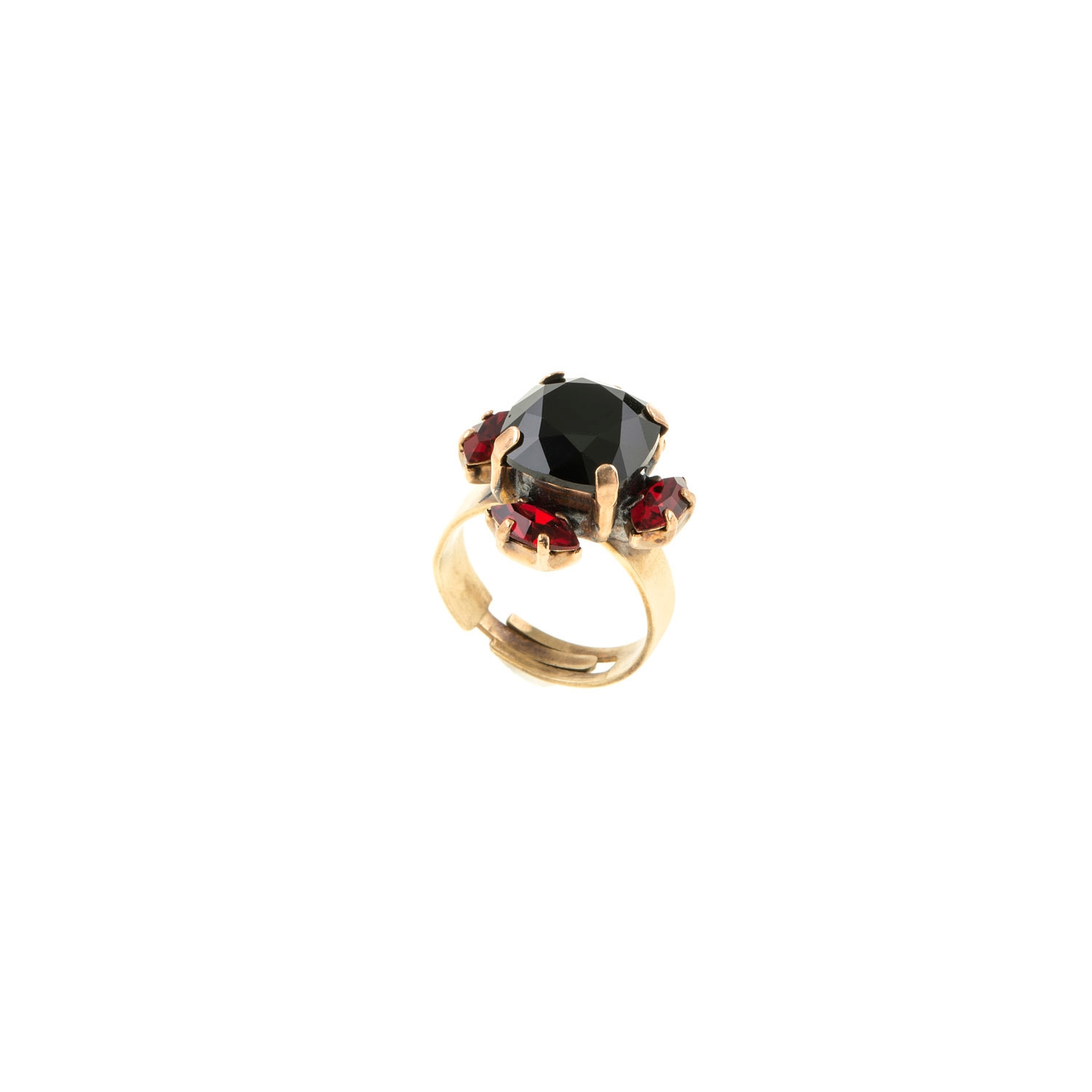 HALO & CO JET AND GRNET CRYSTAL CLUSTER RING