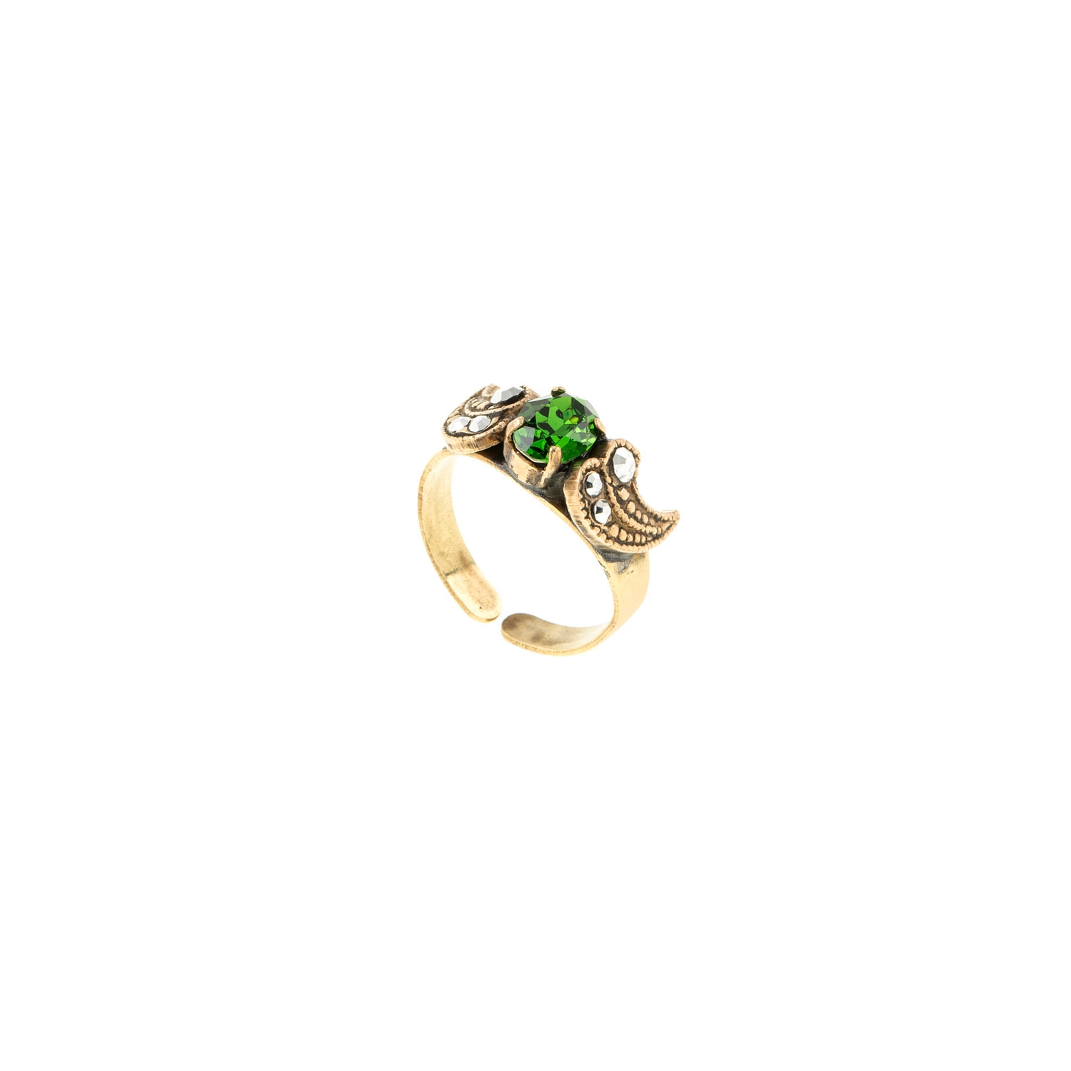 HALO & CO GREEN GODDESS RING IN ANTIQUE DISTRESSED GOLD COLOUR