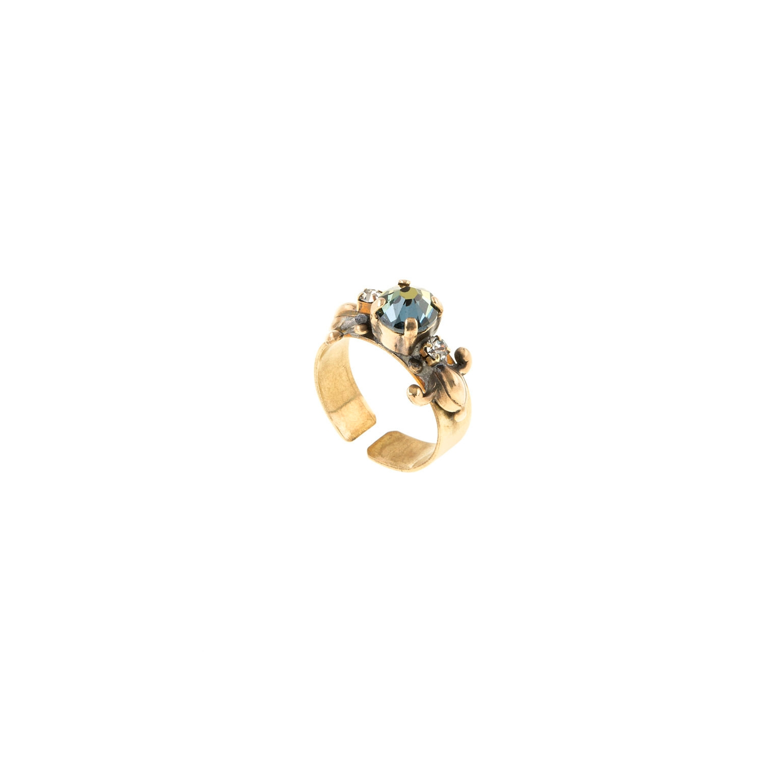 HALO & CO IRRIDESCENT BLUE COLOUR CRYSTAL DRESS RING