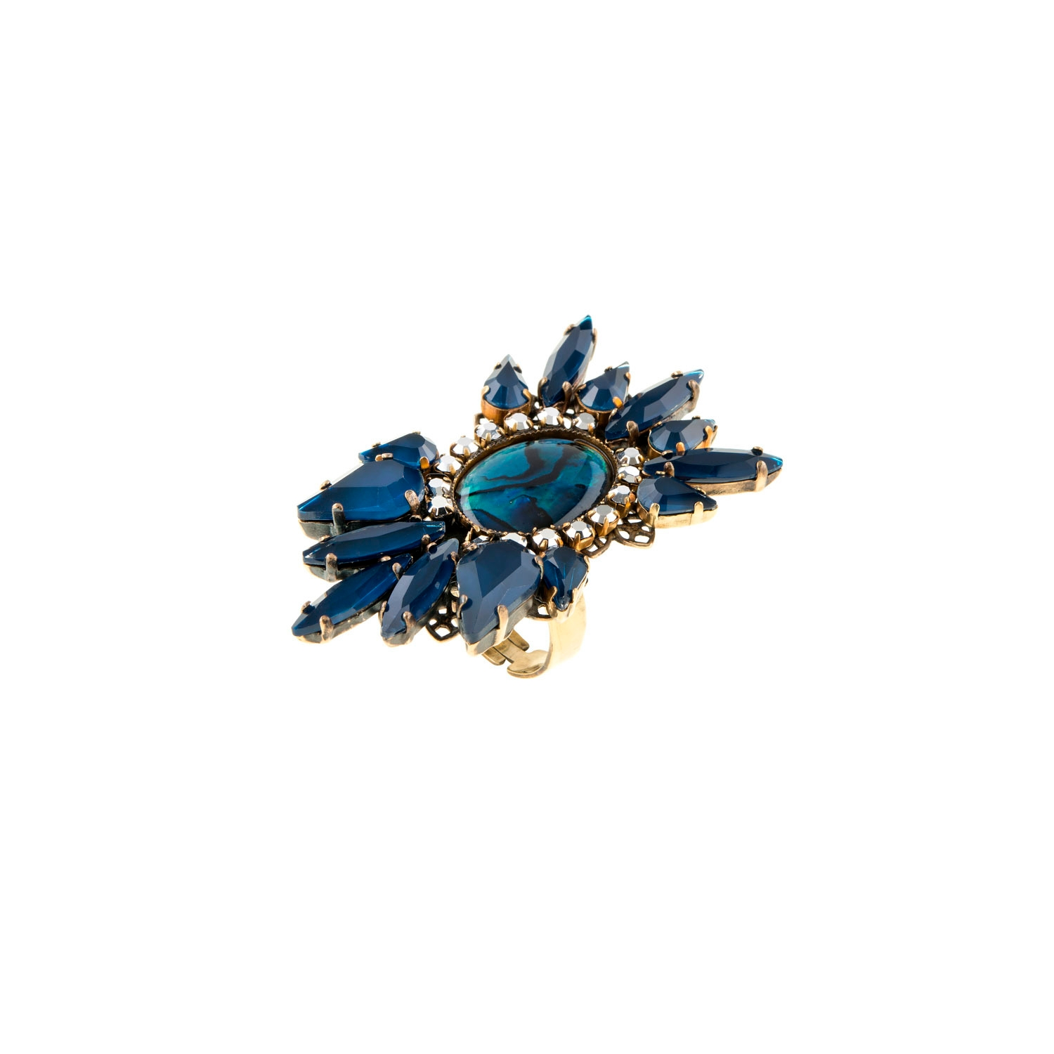 HALO & CO BLUE PAUA SHELL CARBOCHON STATEMENT RING WITH INKY BLUE CRYSTALS