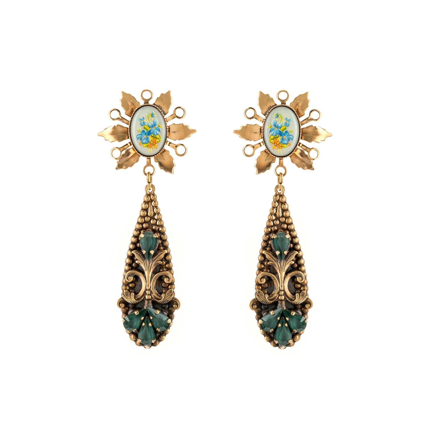 HALO & CO VINTAGE CABOUCHON STATEMENT EARRING