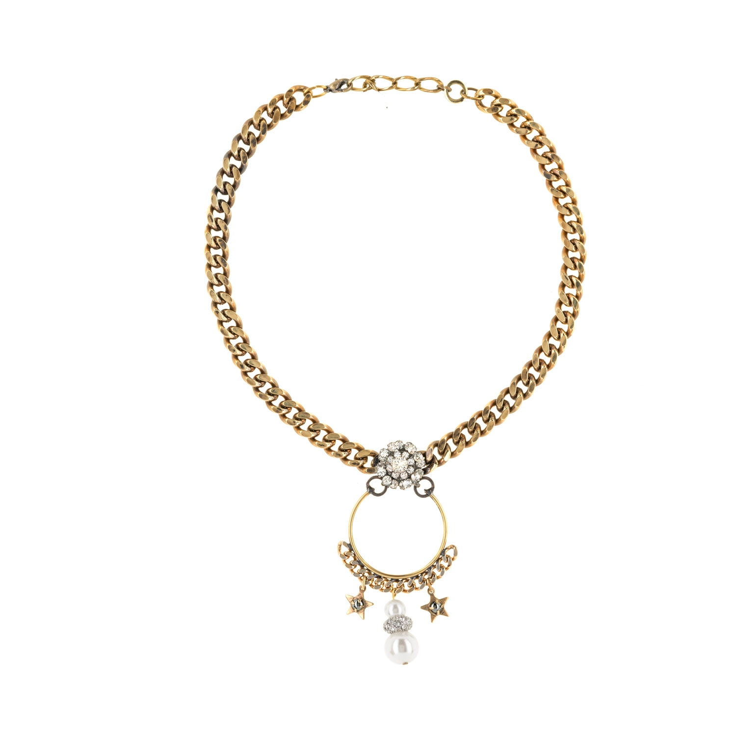 HALO & CO ANTQIUE DISTRESSED GOLD CHAIN AND PEARL DROP NECKLACE