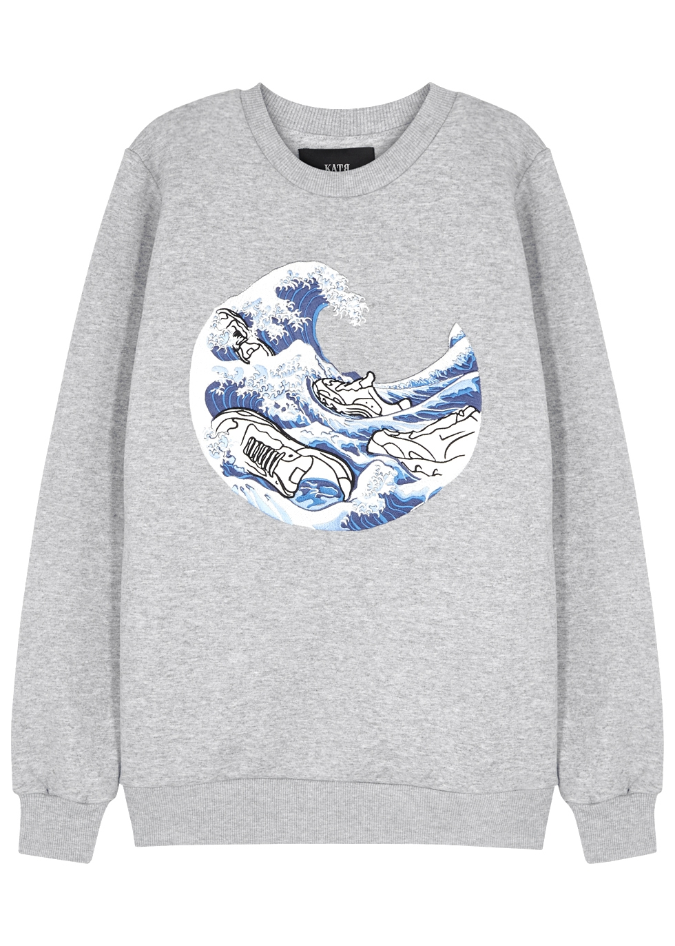 KATYA DOBRYAKOVA Sneakers Embroidered Cotton-Blend Sweatshirt in Grey