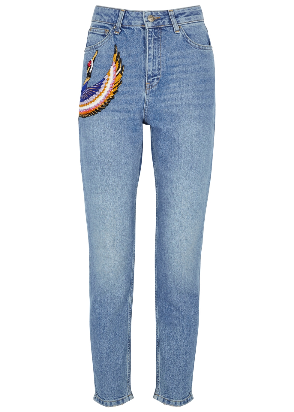 KATYA DOBRYAKOVA Cranes Embellished Cropped Jeans in Denim