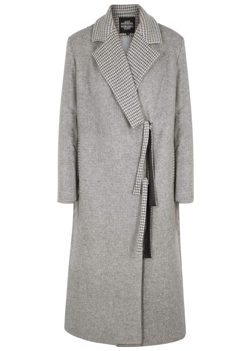 KATYA DOBRYAKOVA Cranes Embellished Wool-Blend Coat in Grey