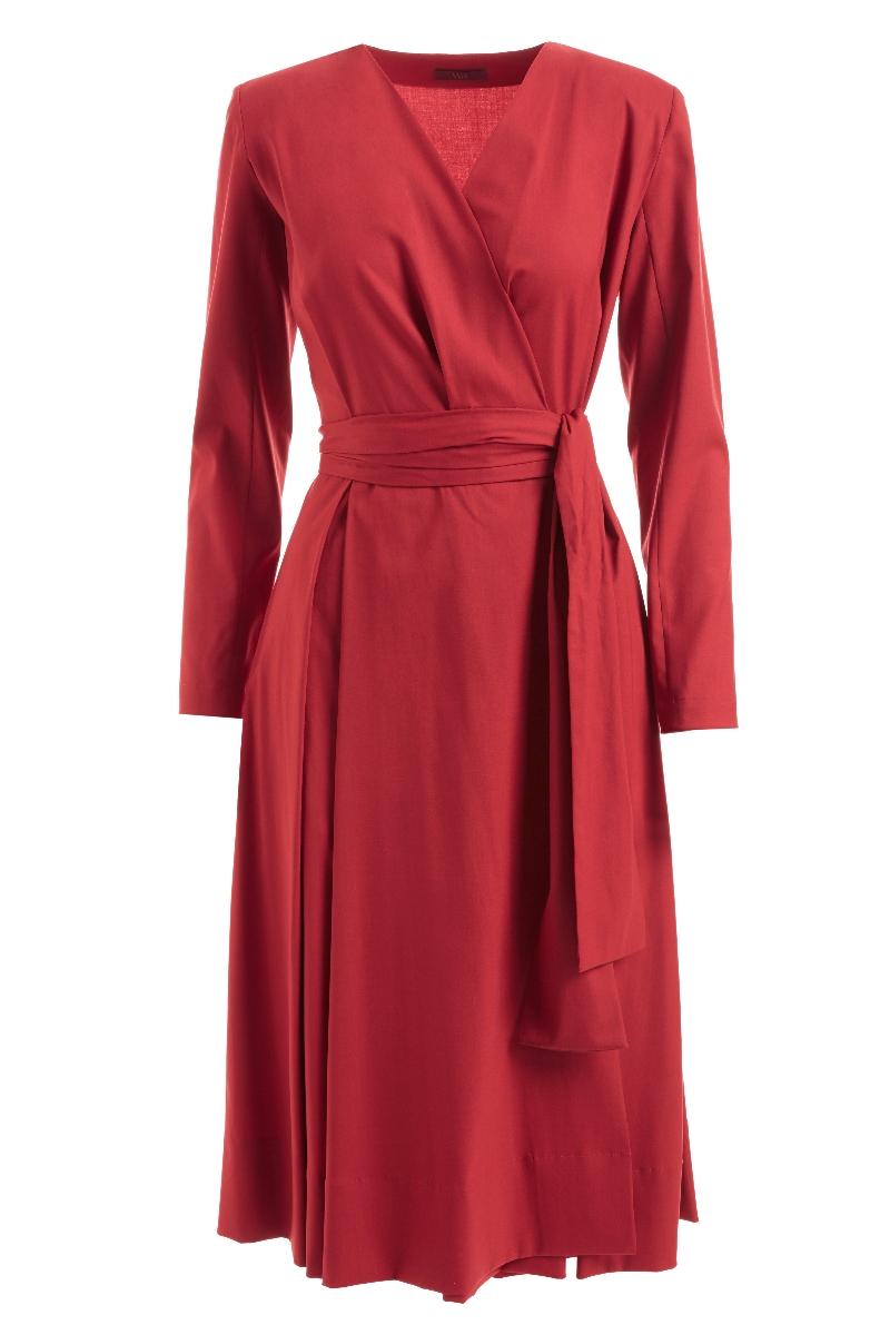 WTR  SUSAN WOOL WRAP DRESS RED