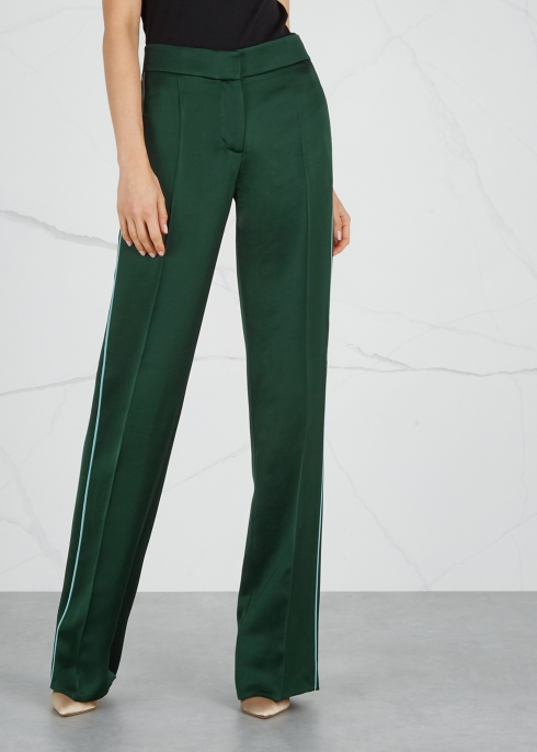 Dark green wide-leg satin trousers - Peter Pilotto