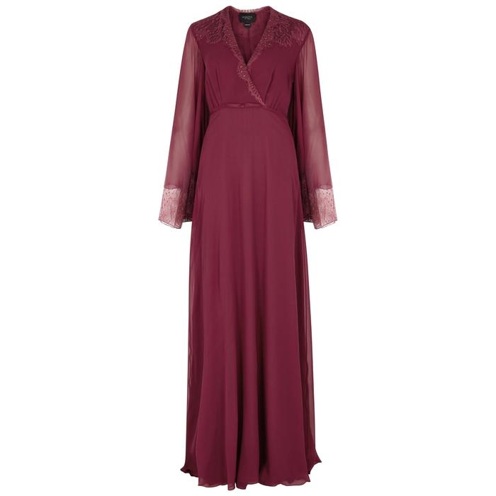 Giambattista Valli Claret Lace-Trimmed Silk Georgette Gown In Red ... 2c4713bcf