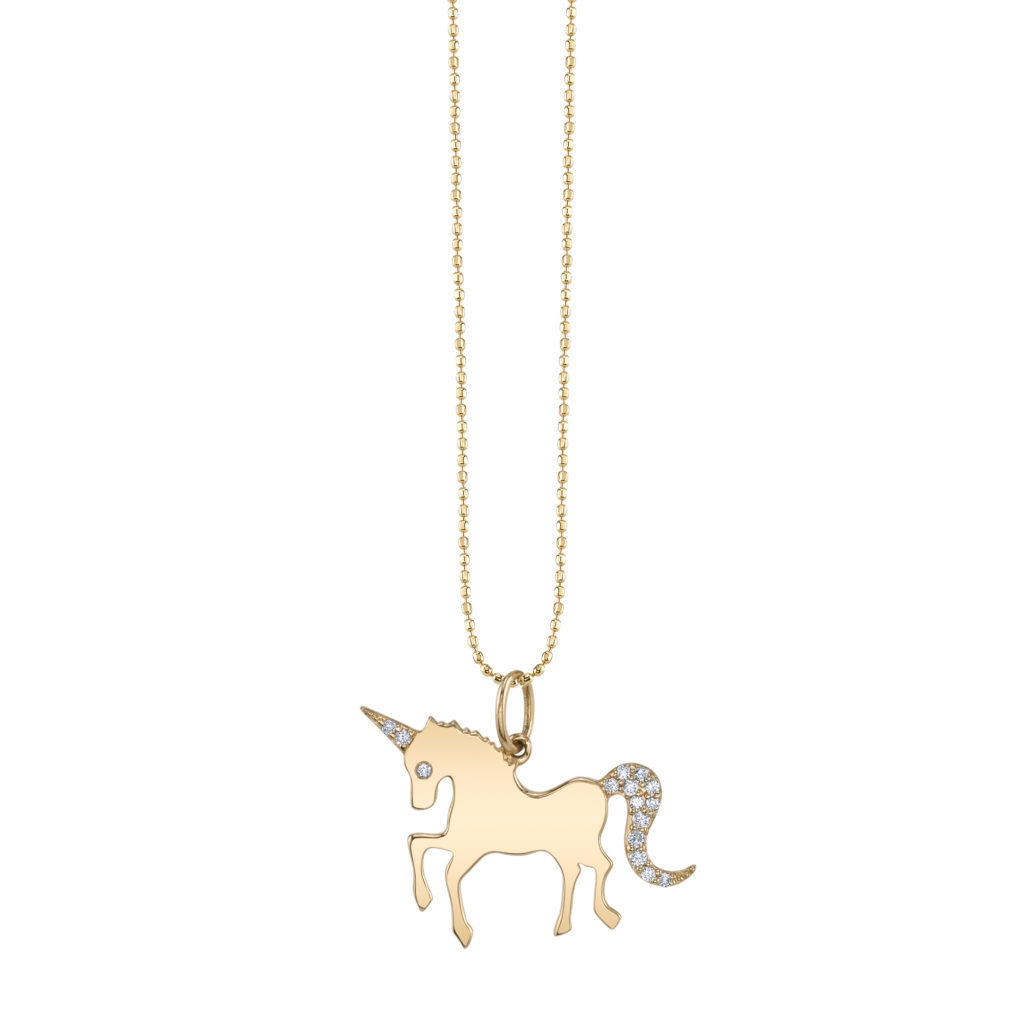 SYDNEY EVAN 14CT YELLOW GOLD UNICORN CHARM NECKLACE