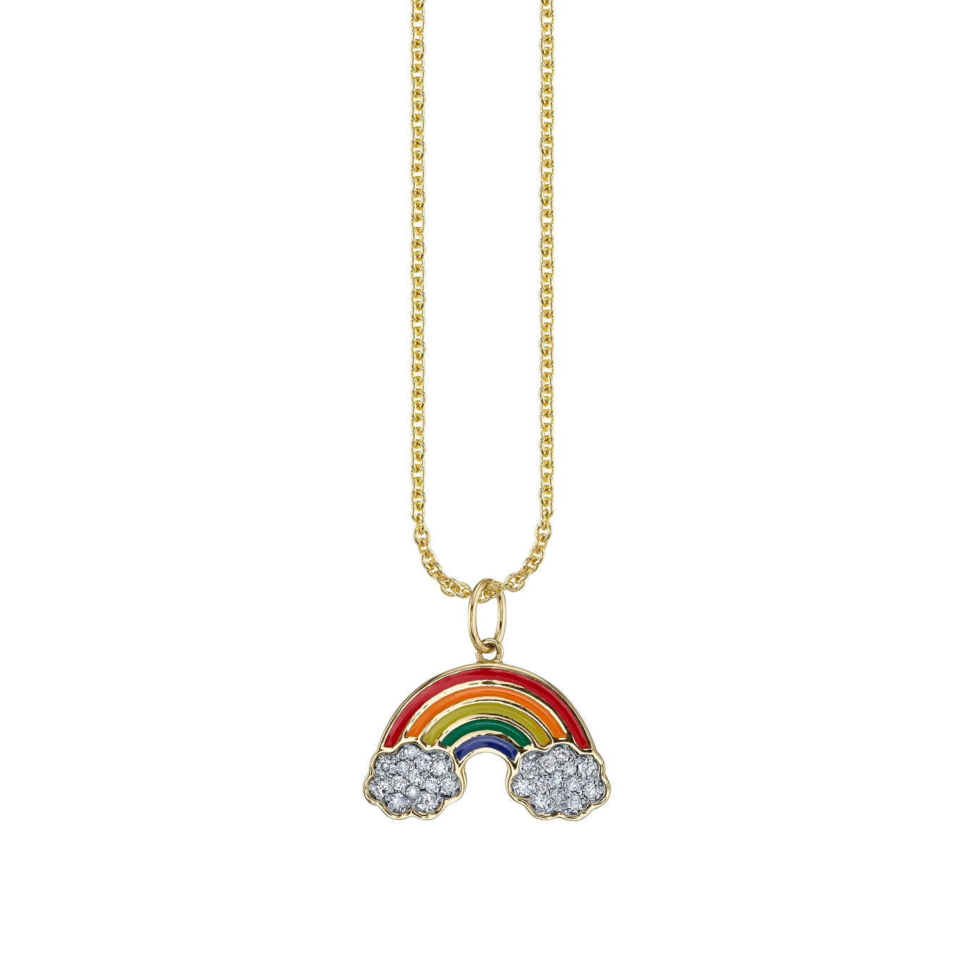 SYDNEY EVAN 14CT YELLOW GOLD ENAMEL RAINBOW CHARM NECKLACE