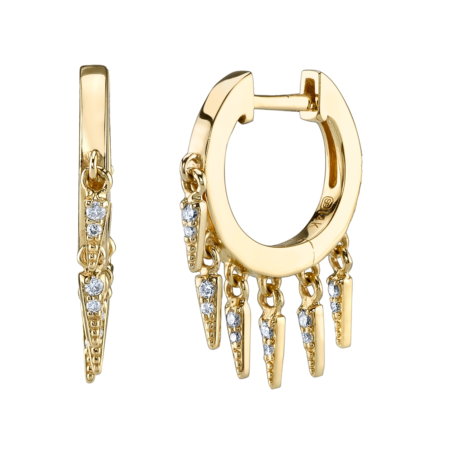 SYDNEY EVAN 14CT YELLOW GOLD AND DIAMOND FRINGE HUGGIE HOOP EARRINGS