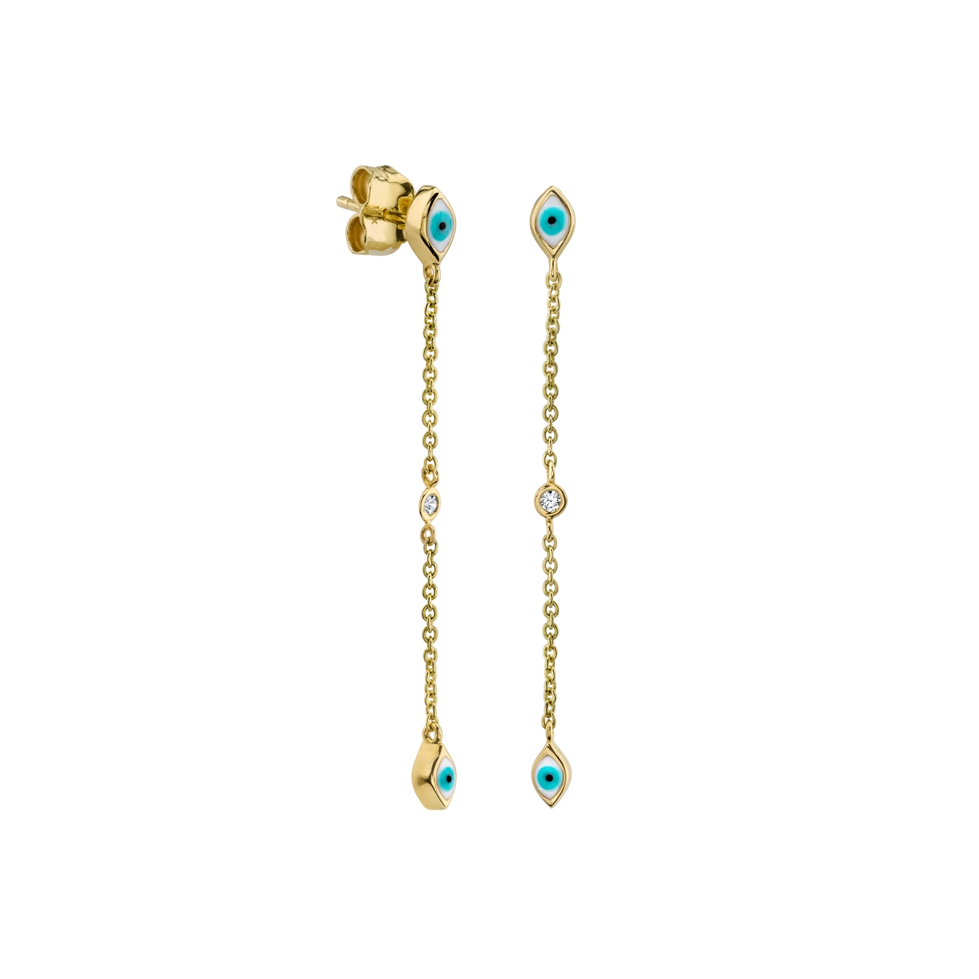 SYDNEY EVAN 14CT YELLOW GOLD MINI ENAMEL EYE CASCADE EARRINGS