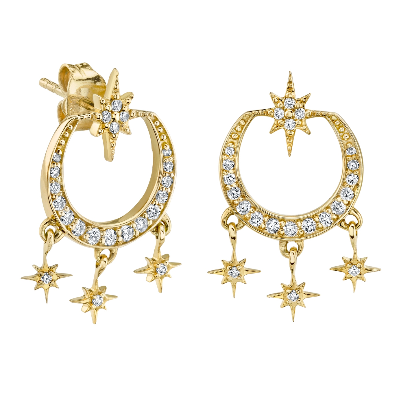 SYDNEY EVAN 14CT YELLOW GOLD AND DIAMOND STARBURST CHANDELIER EARRINGS