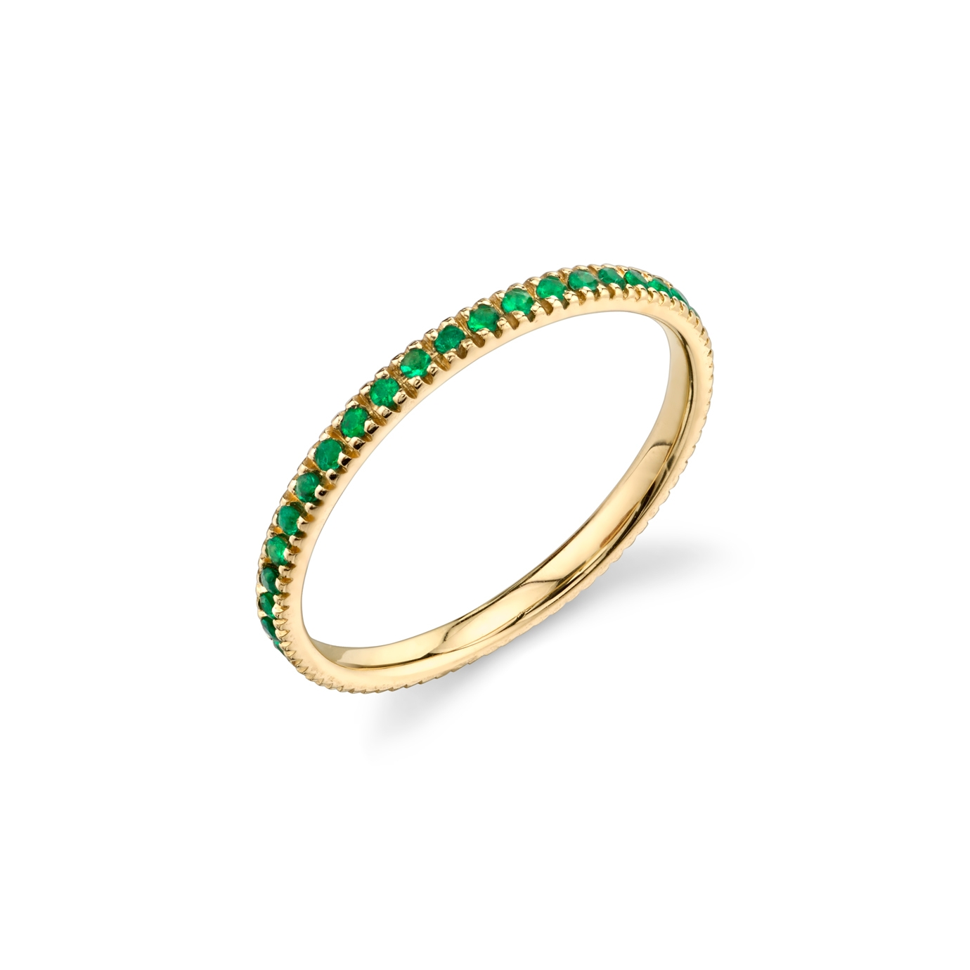 SYDNEY EVAN 14CT YELLOW GOLD EMERALD ETERNITY RING