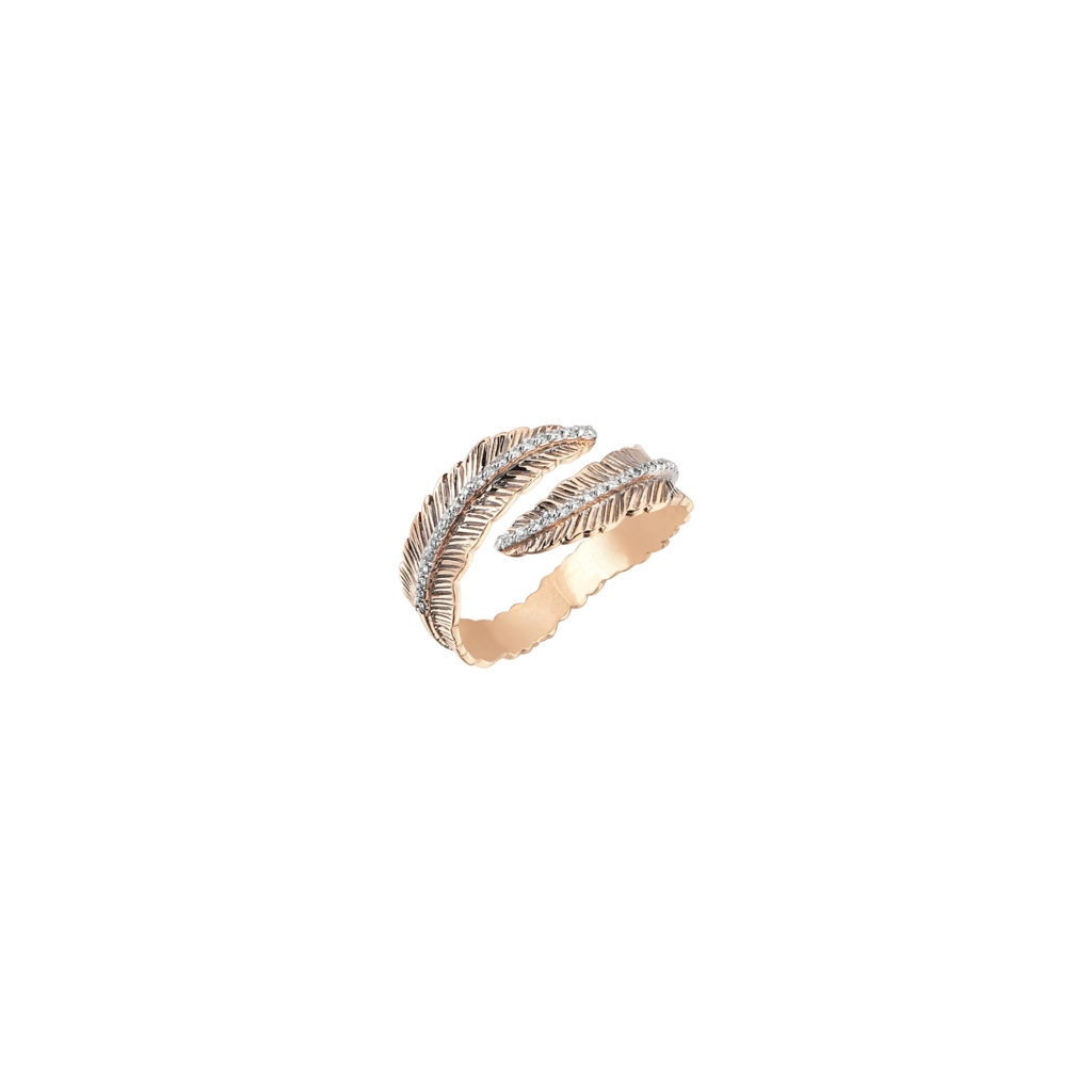 KISMET BY MILKA 14CT ROSE GOLD DIAMOND DOUBLE ROW FEATHER PINKY RING