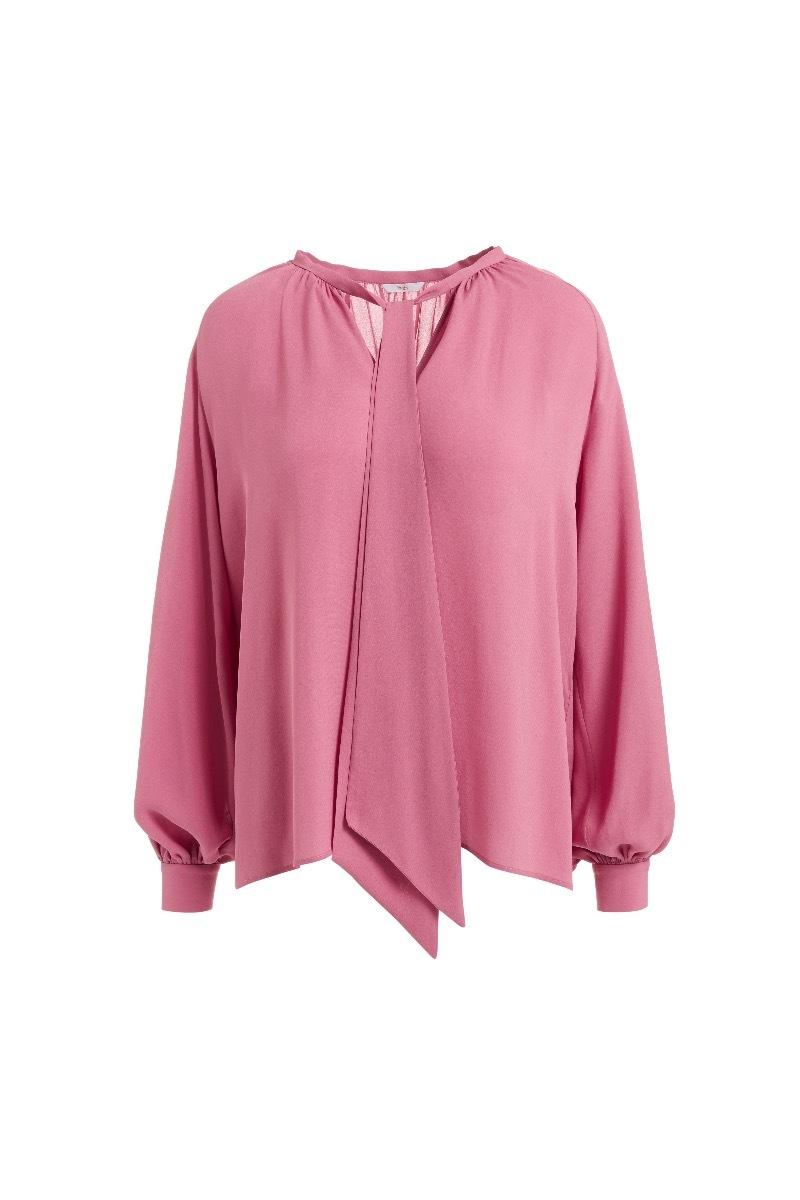 WTR  Valentin Pink Scarf Silk Blouse