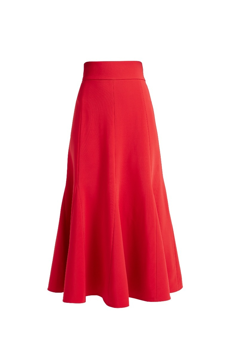 WTR  MAURICE RED CADY FLARED SKIRT