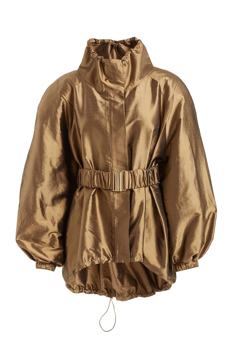 WTR  Massine Gold Oversized Belted Silk Jacket