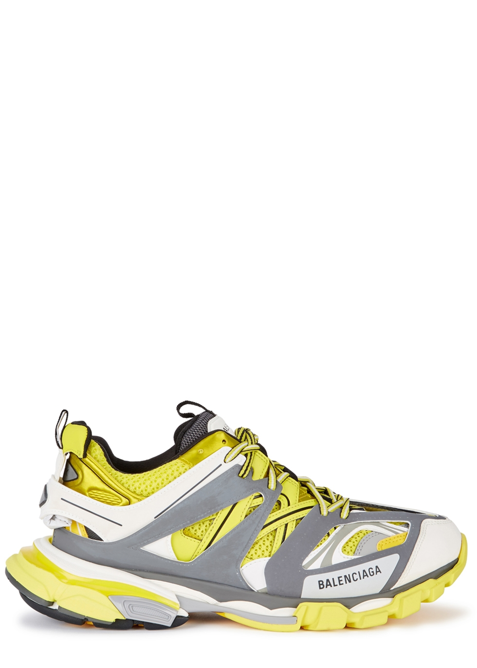 Track yellow leather and mesh trainers - Balenciaga