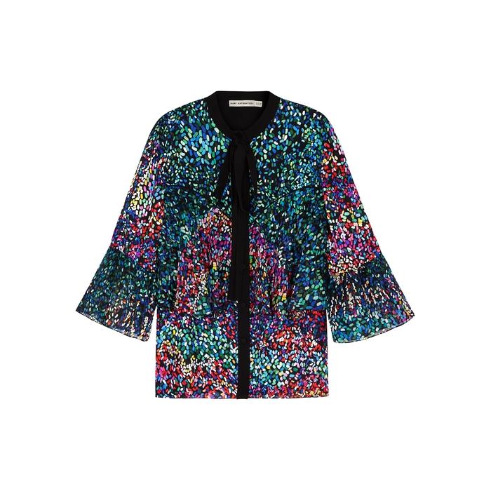 Mary Katrantzou Milana Printed Silk Top In Multicoloured  800d6db6b3254