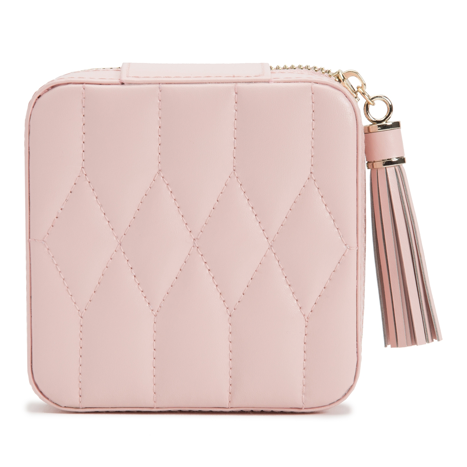 WOLF THE ALKEMISTRY PINK QUILTED LEATHER JEWELLERY TRAVEL CASE