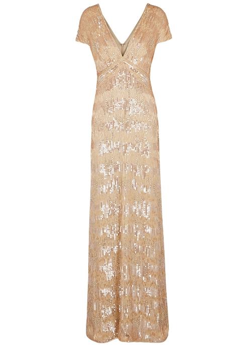 Pamella Roland Almond sequin-embellished silk gown - Harvey Nichols 7250435d0