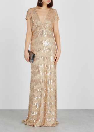 990c2e690 Almond sequin-embellished silk gown Almond sequin-embellished silk gown